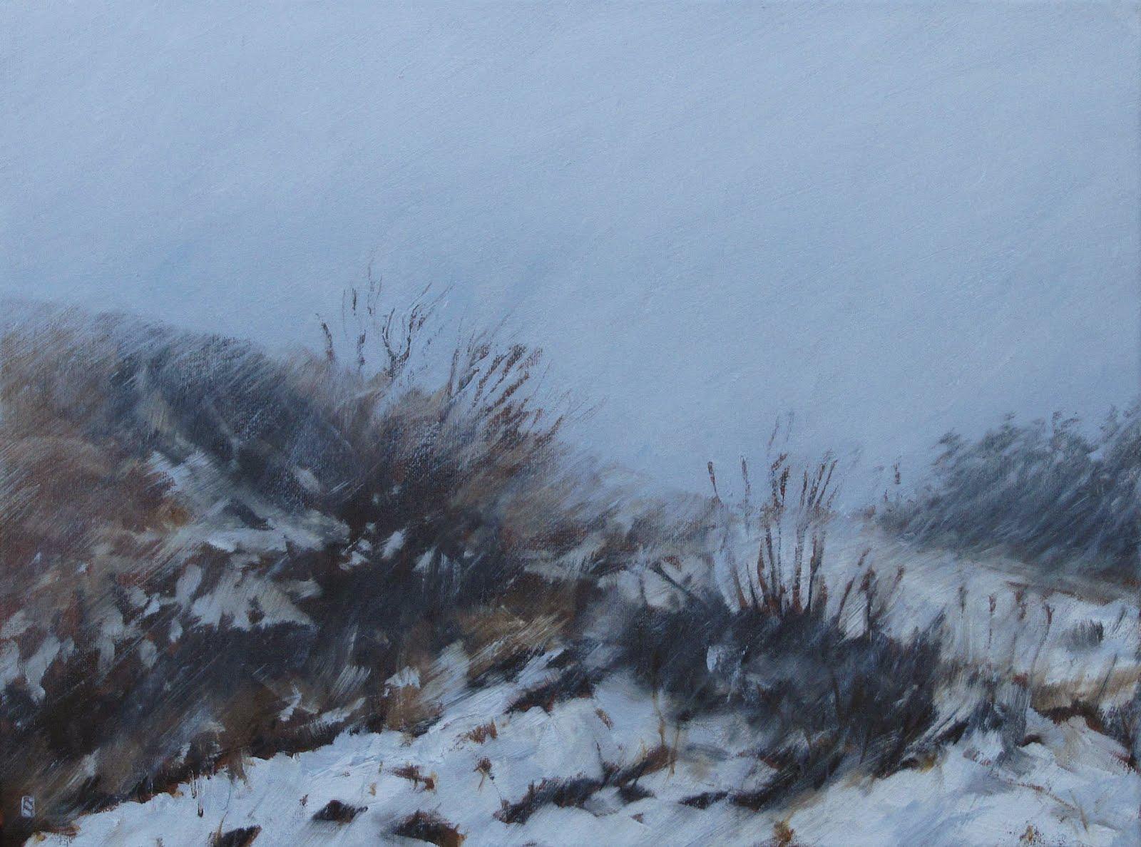 "Snowing, Westview Park, Oil on Canvas, 2012, 16"" x 12"""
