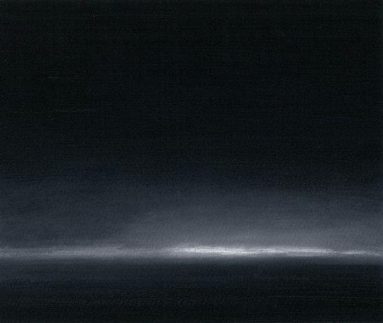 "Night Lights, North Dakota, Oil on Paper, 7.75"" x 6.5"""