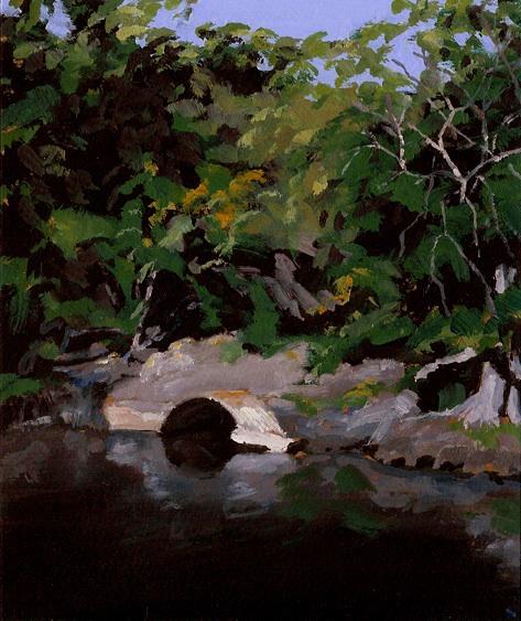 """Culvert, Seine River, Oil on Paper, 6.5"""" x 7.75"""""""
