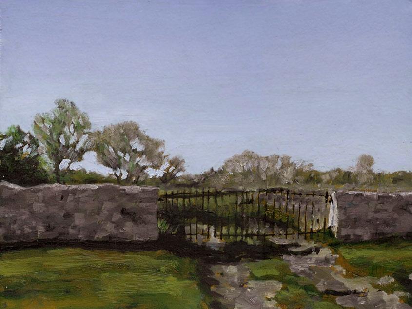 "Gate, St. Andrews, Oil on Paper, 12"" x 9"""