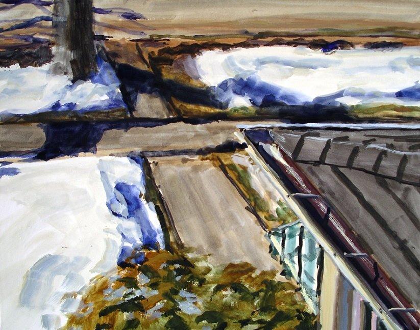 "Sidewalk, Gouache on Paper, 12.5"" x 10"""