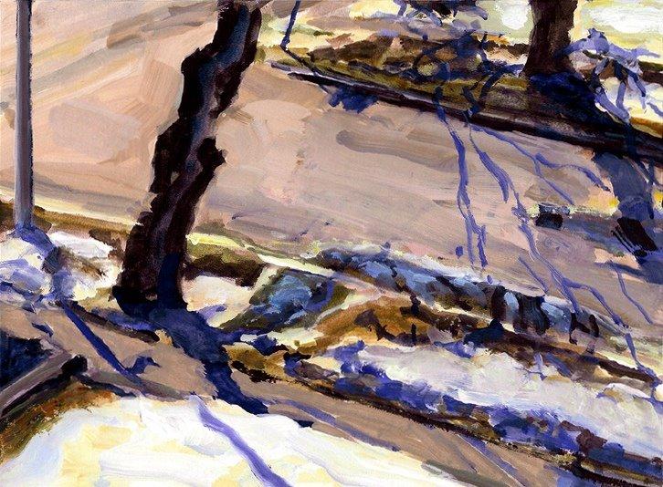 "Street Shadows, Gouache on Paper, 10.5"" x 7.75"""