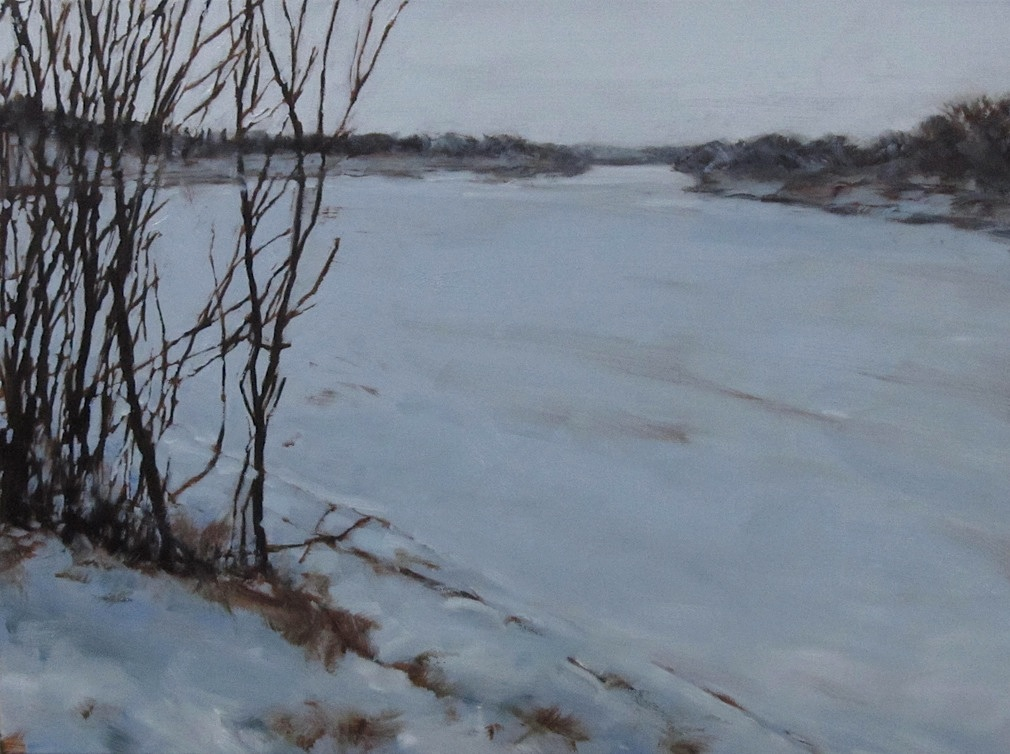 "Blue Grey River, Oil on Canvas, 2012, 24"" x 18"""