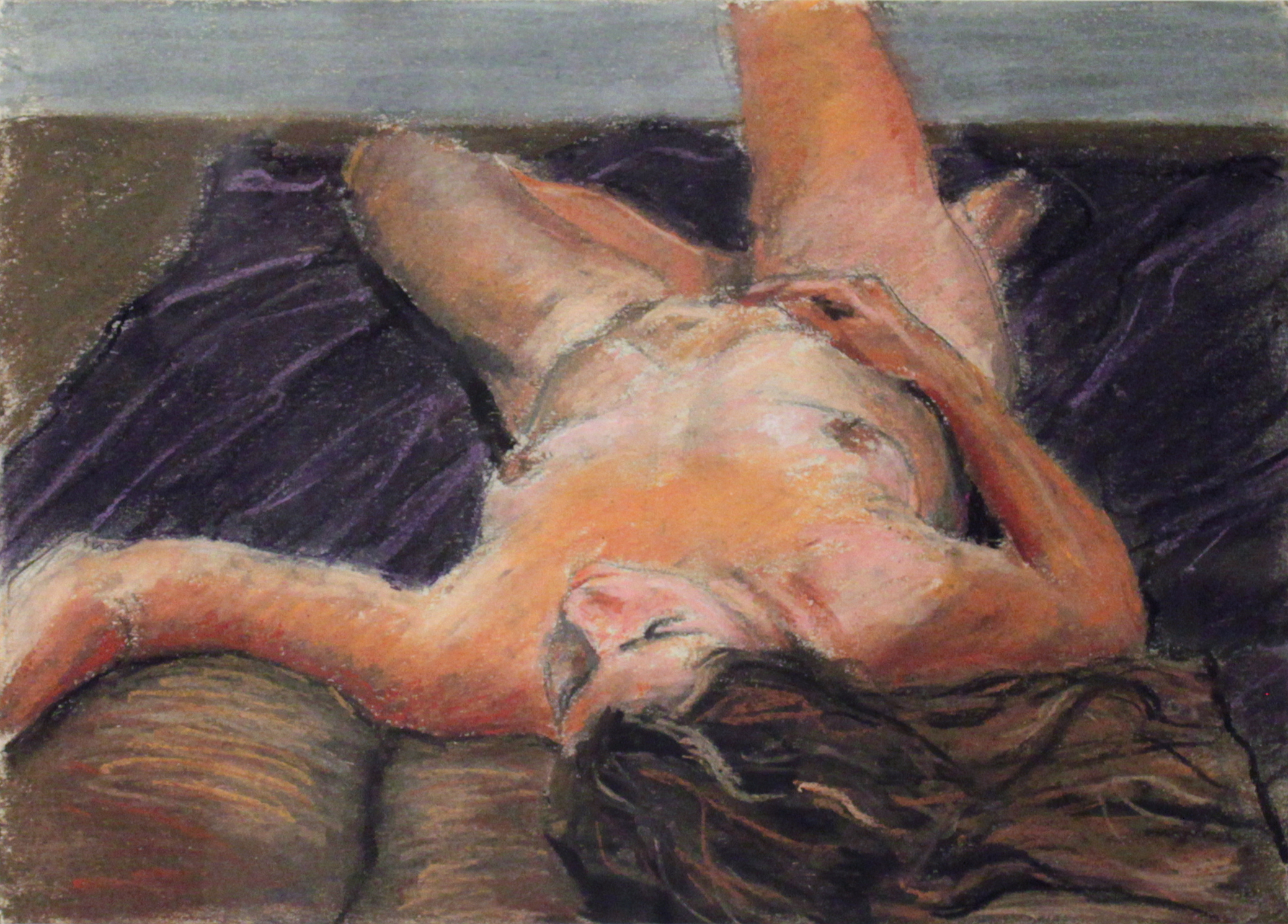 "Purple and Brown Nude, Oil on Paper, 2013, 12"" x 9"""