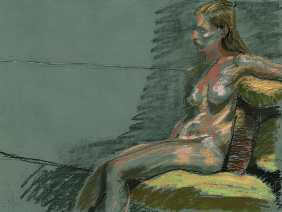 """Pensive Nude, Pastel on Paper, 24"""" x 18"""""""