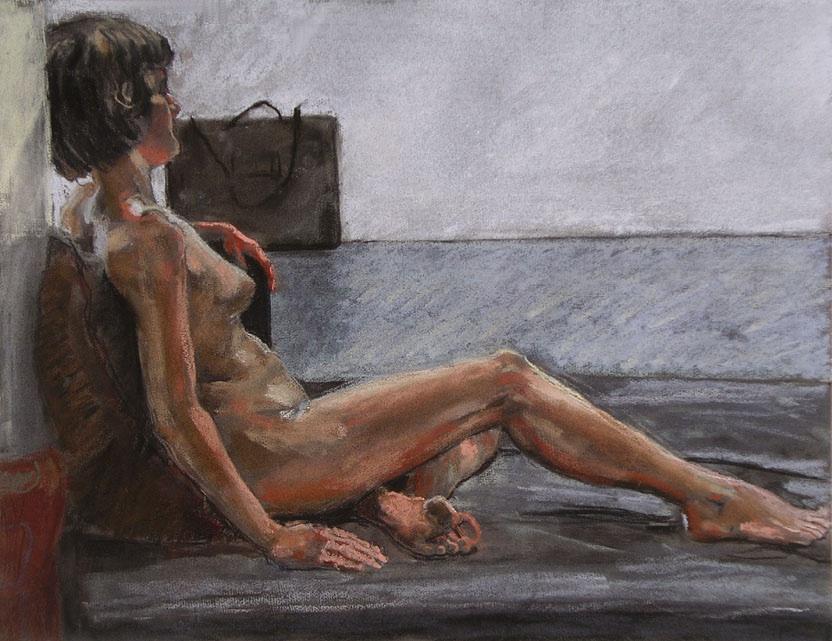 "Model and Portfolio, Pastel on Paper, 32"" x 24"""