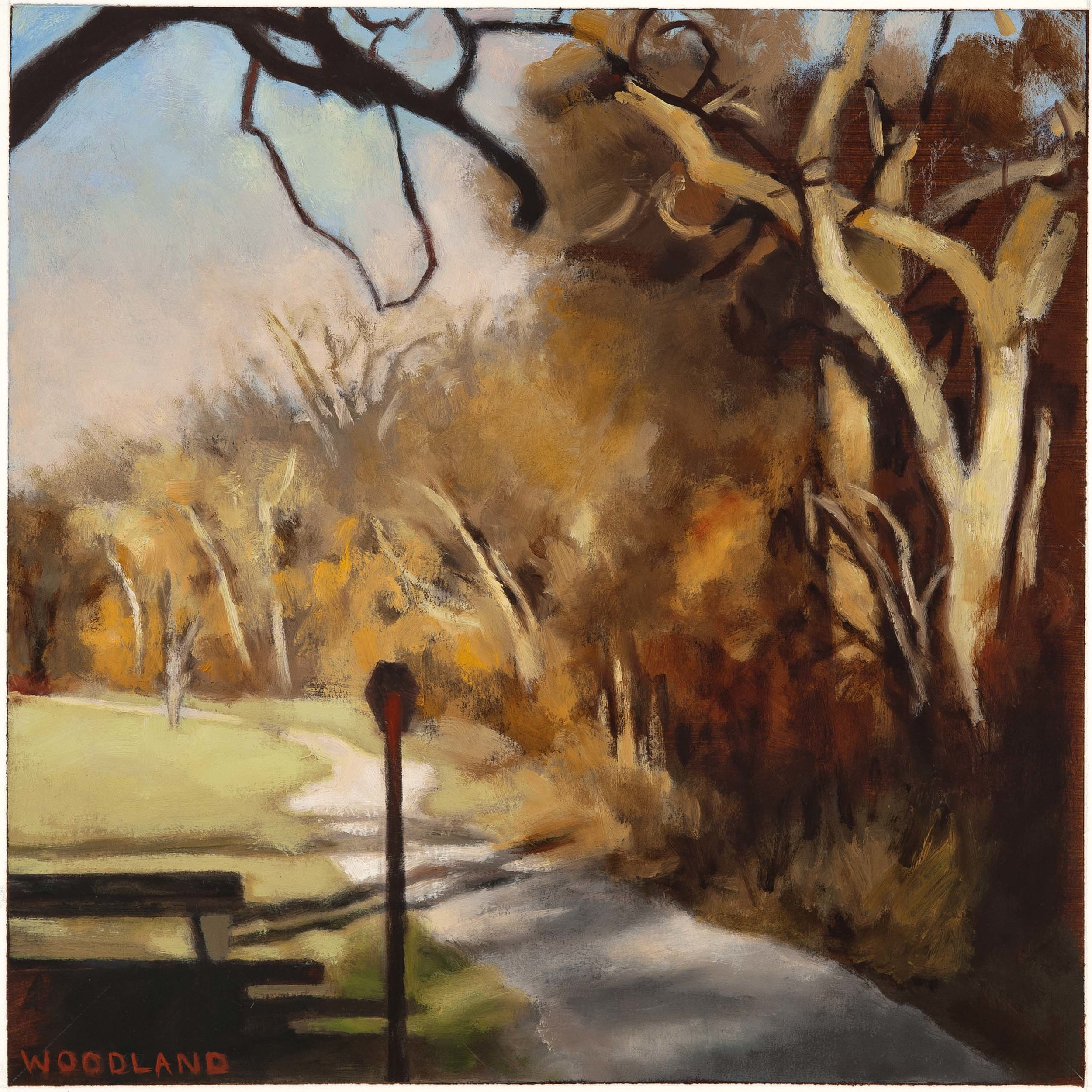 "River Path, 2012, oil on artboard, 12"" x 12"""