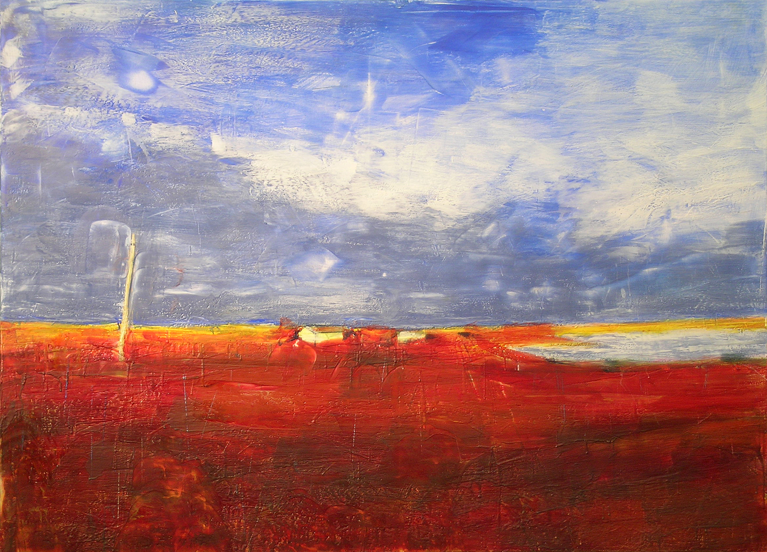 "Hilda and Louie's Place, Spirit Lake, Oil, Pigment, beeswax, Microcrystalline Wax and Dammar Resin on Canvas, 72"" x 50"""