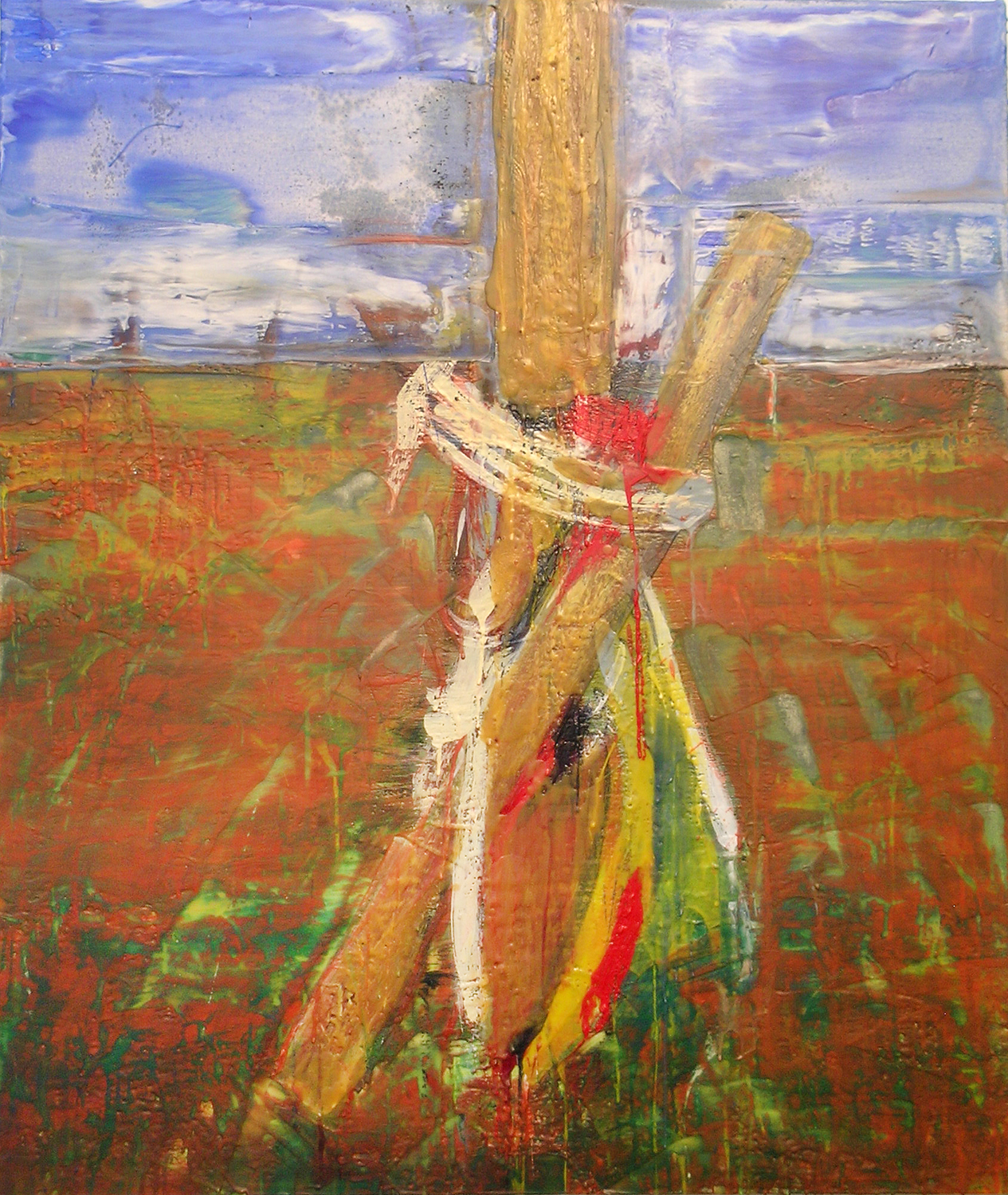 "Tim Schouten, A Cottonwood Tree, Encaustic on Canvas, 2014, 36"" x 42"""