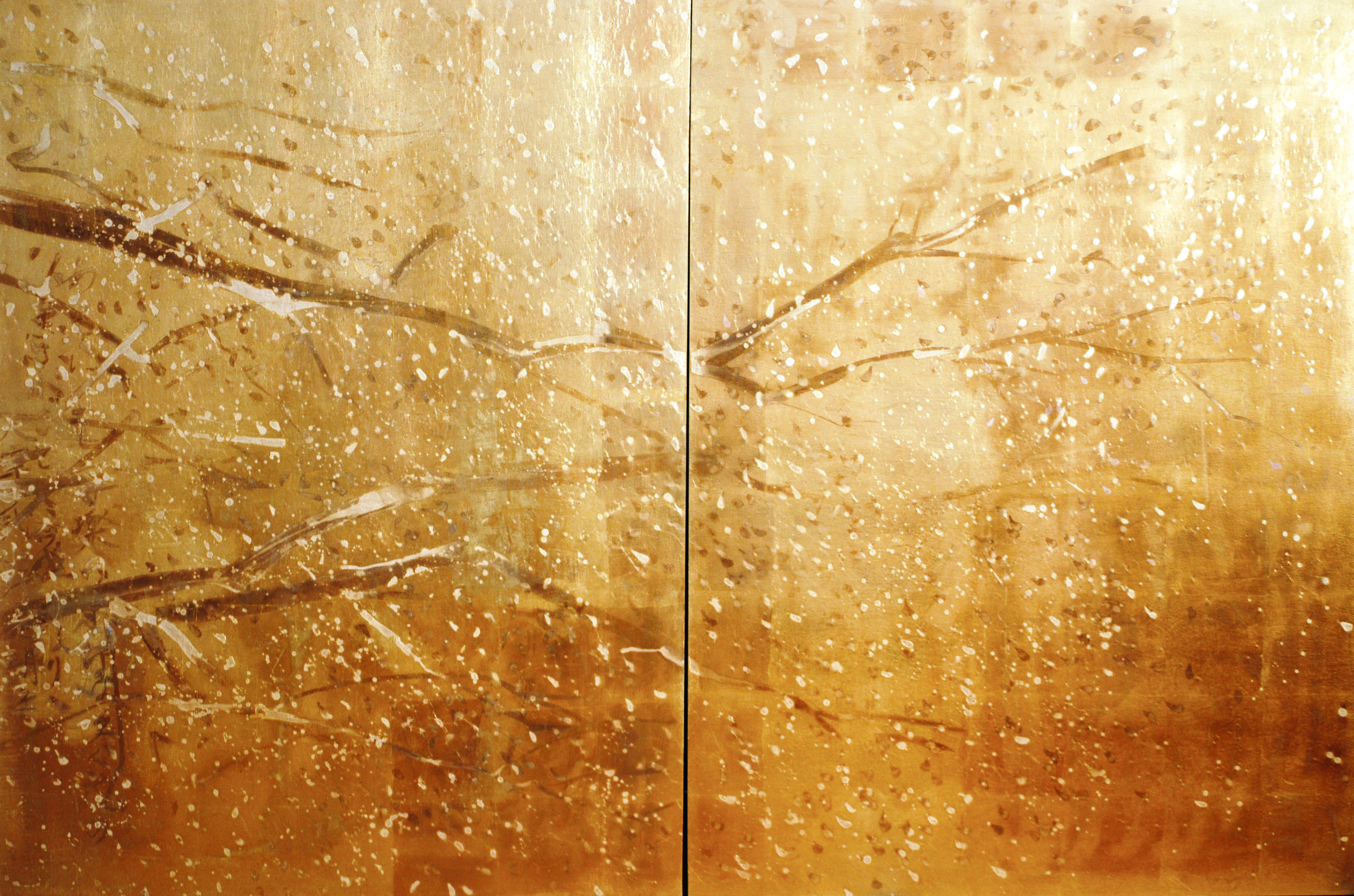 Untitled Cherry Blossoms Diptych, Oil and Patina on Gold Leafed Panels