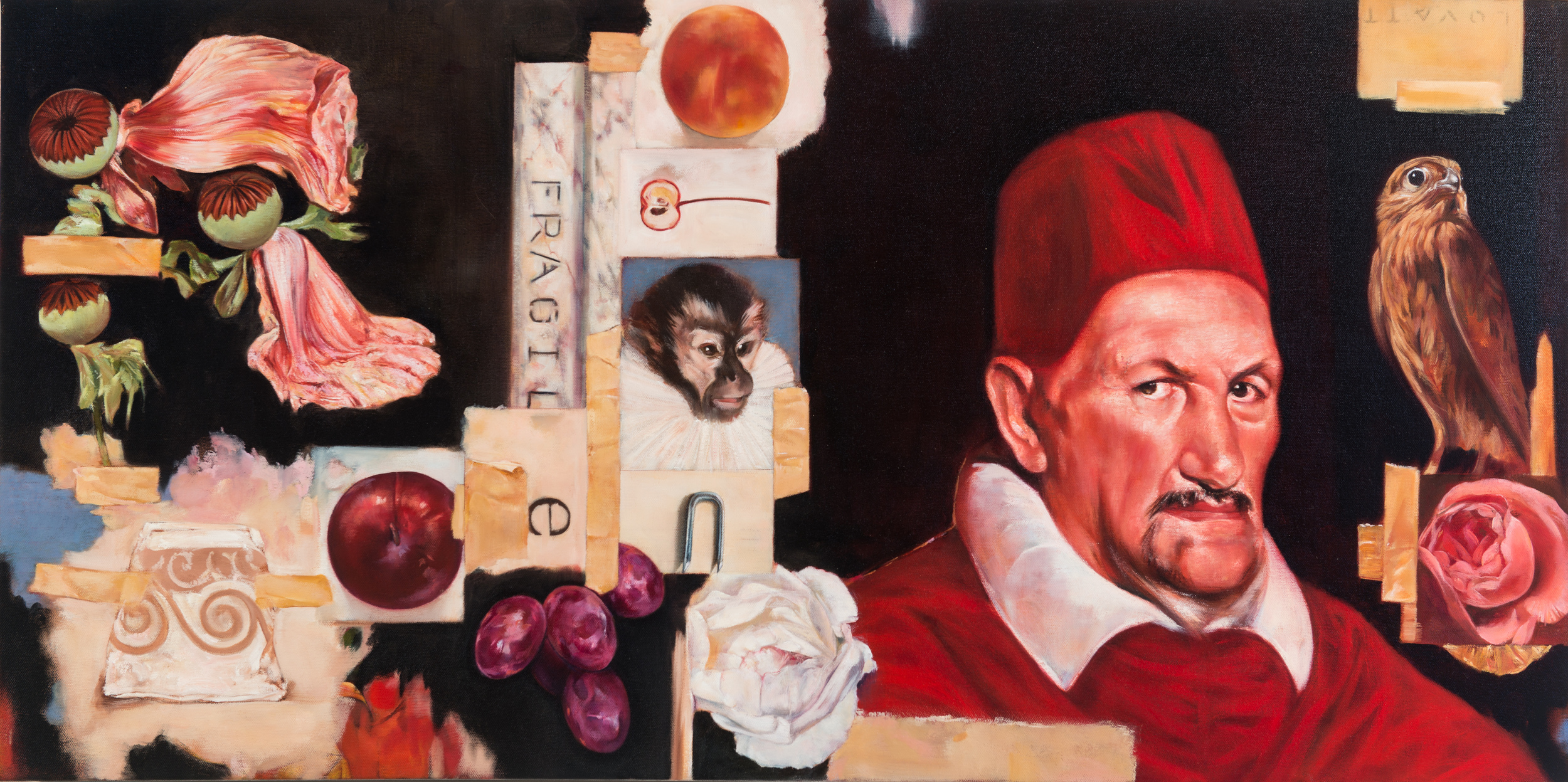 TL-064,Self portrait, oil on canvas, 42 x 21 SOLD