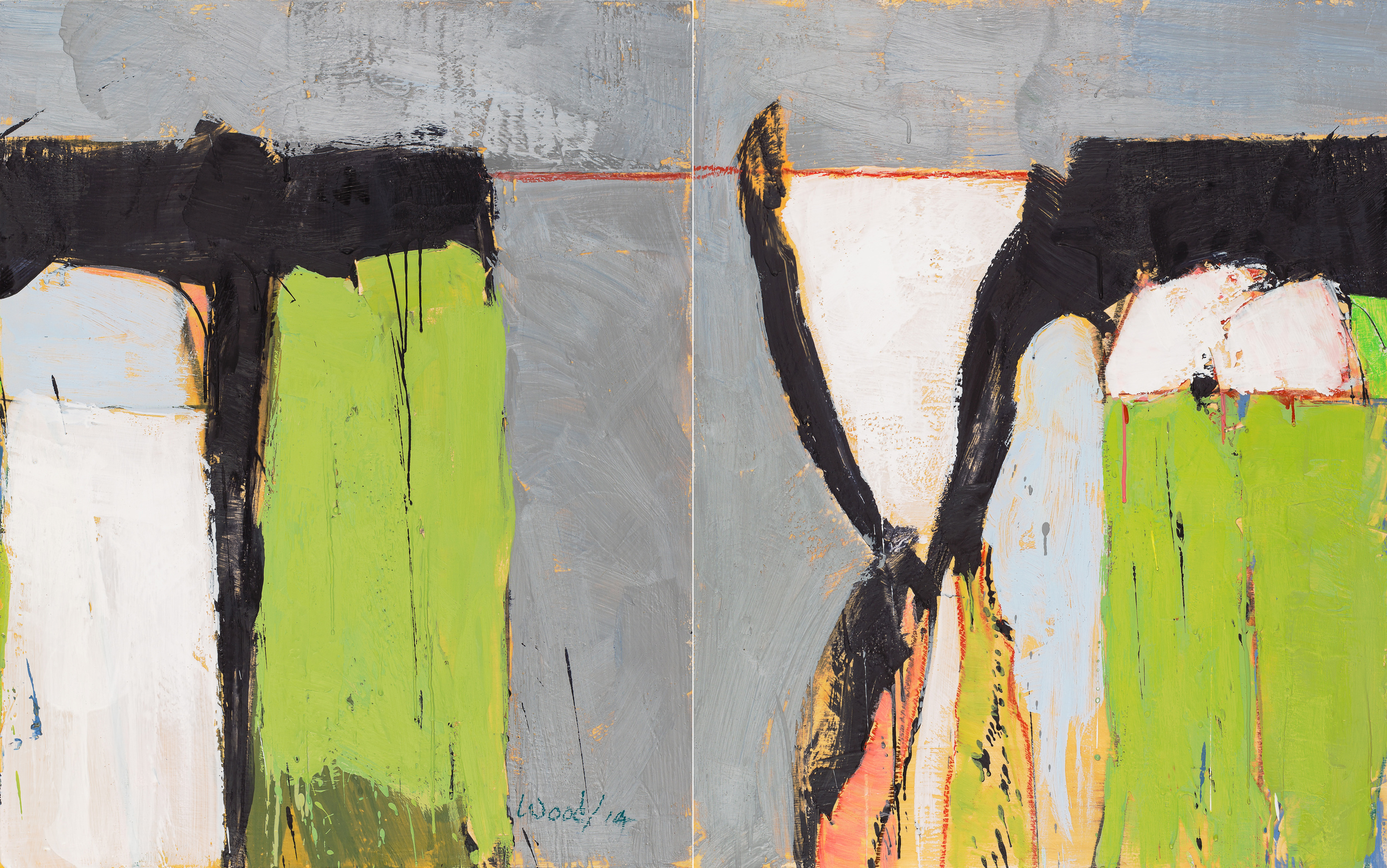 KW-066, Keith Wood, This Time 6, 2015, Encaustic on Panel, 48 x 30, $2,750