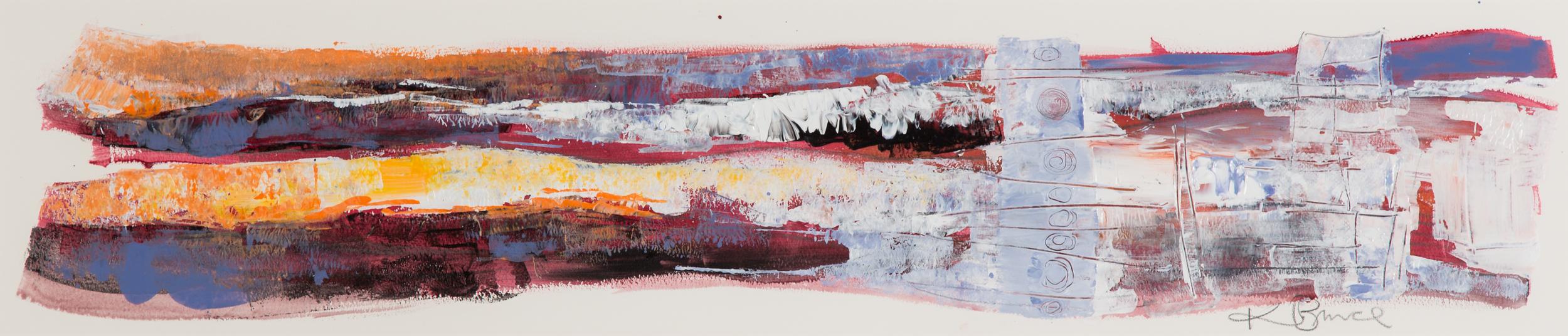 KB-061, Katharine Bruce, September Sunset, Acrylic on Paper, 2015, 45 x 9, $2,350