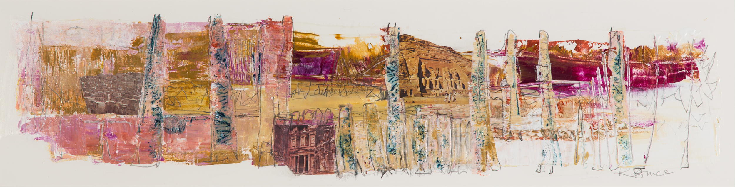 KB-064, Katharine Bruce, Into the Valley, Acrylic with Collage on Paper, 2015, 43x 11, $2,400