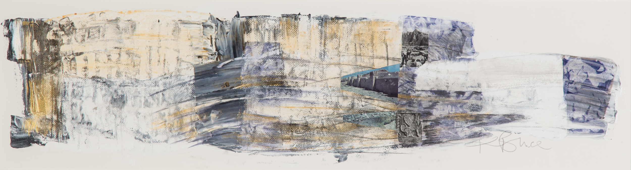 KB-065, Katharine Bruce, GhostBridge, Acrylic with Collage on Paper, 2015, 43 x 11, $2,400