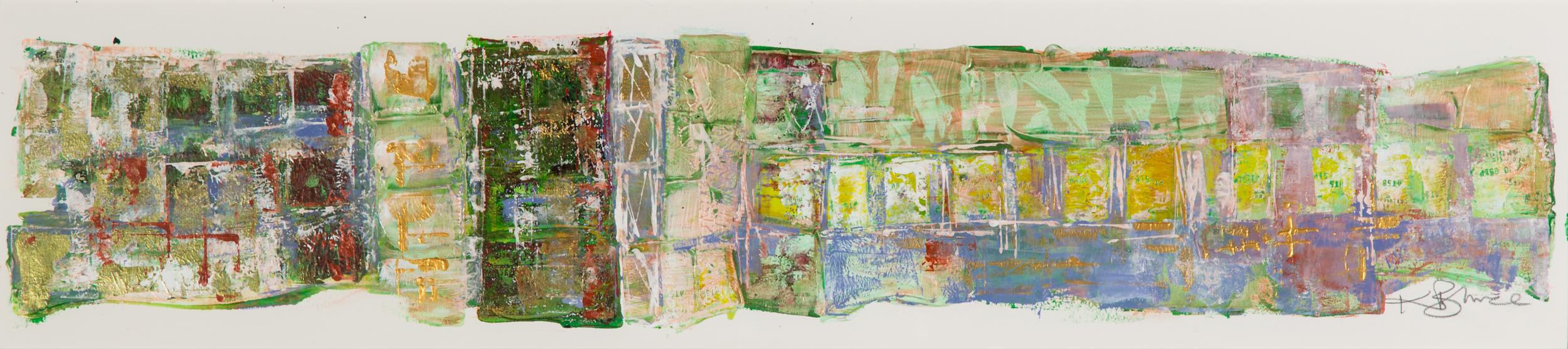 KB-067, Killarney Crowds, Acrylic on Paper, 2015, 46 x 10, $2,350