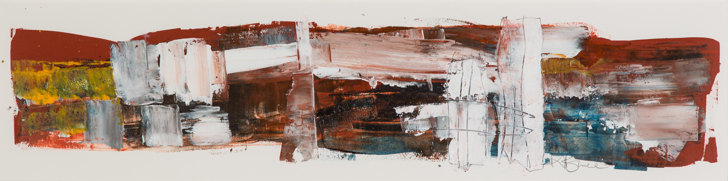 KB-068, Katharine Bruce, Stand off, Acrylic on Paper, 2015, 44x10, $2,350