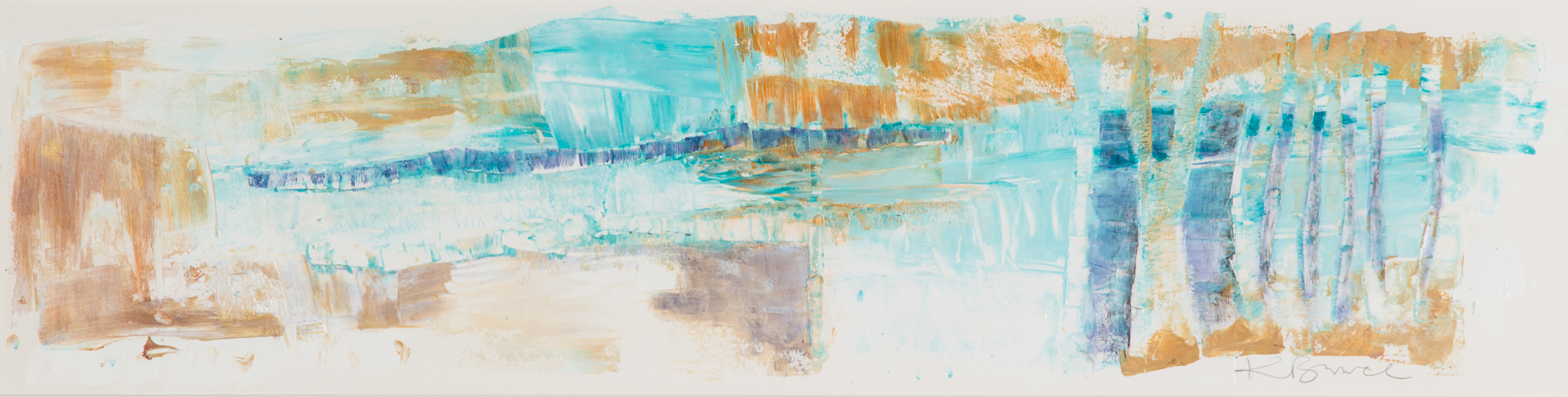 KB-069, Katharine Bruce, Mirage de la Prairie, Acrylic on Paper, 2015, 44x12 , $2,400