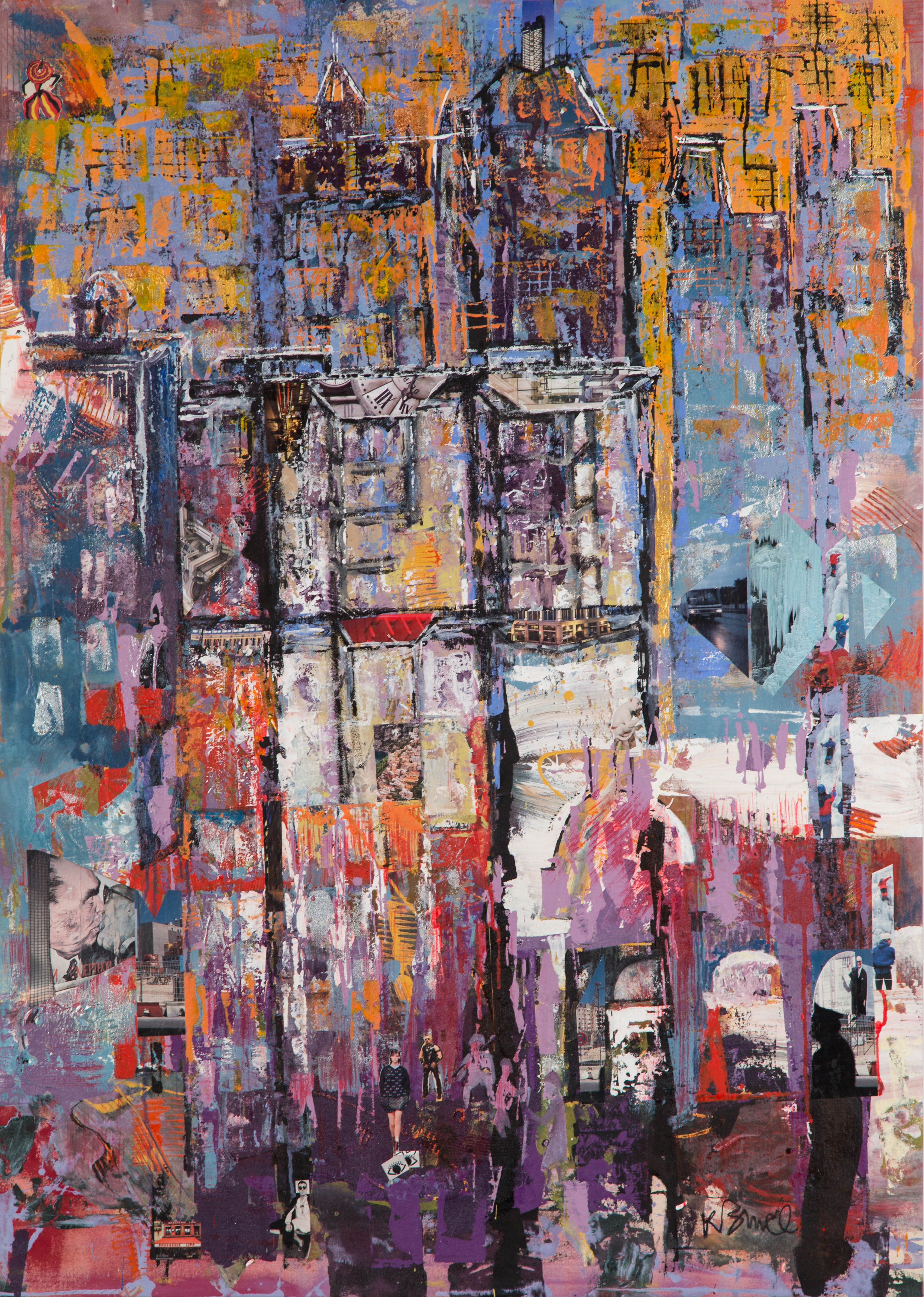 KB-073, Intencity, Acrylic with Collage on Canvas, 39.5 x 56, $4,200