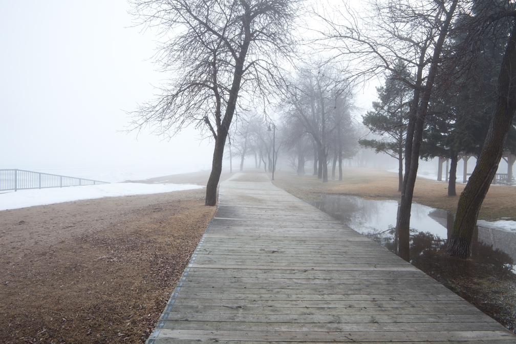 WP-037, William Pura, Winnipeg Beach fog April 9, 2011, $1,500