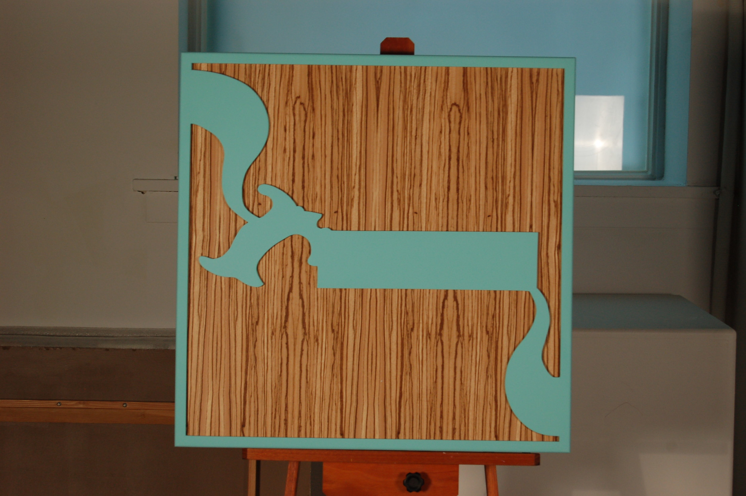 KH-007, The Hand Saw That Made the Frame, Zebra Wood, wood panel, acrylic paint, 27x27, 2015.JPG