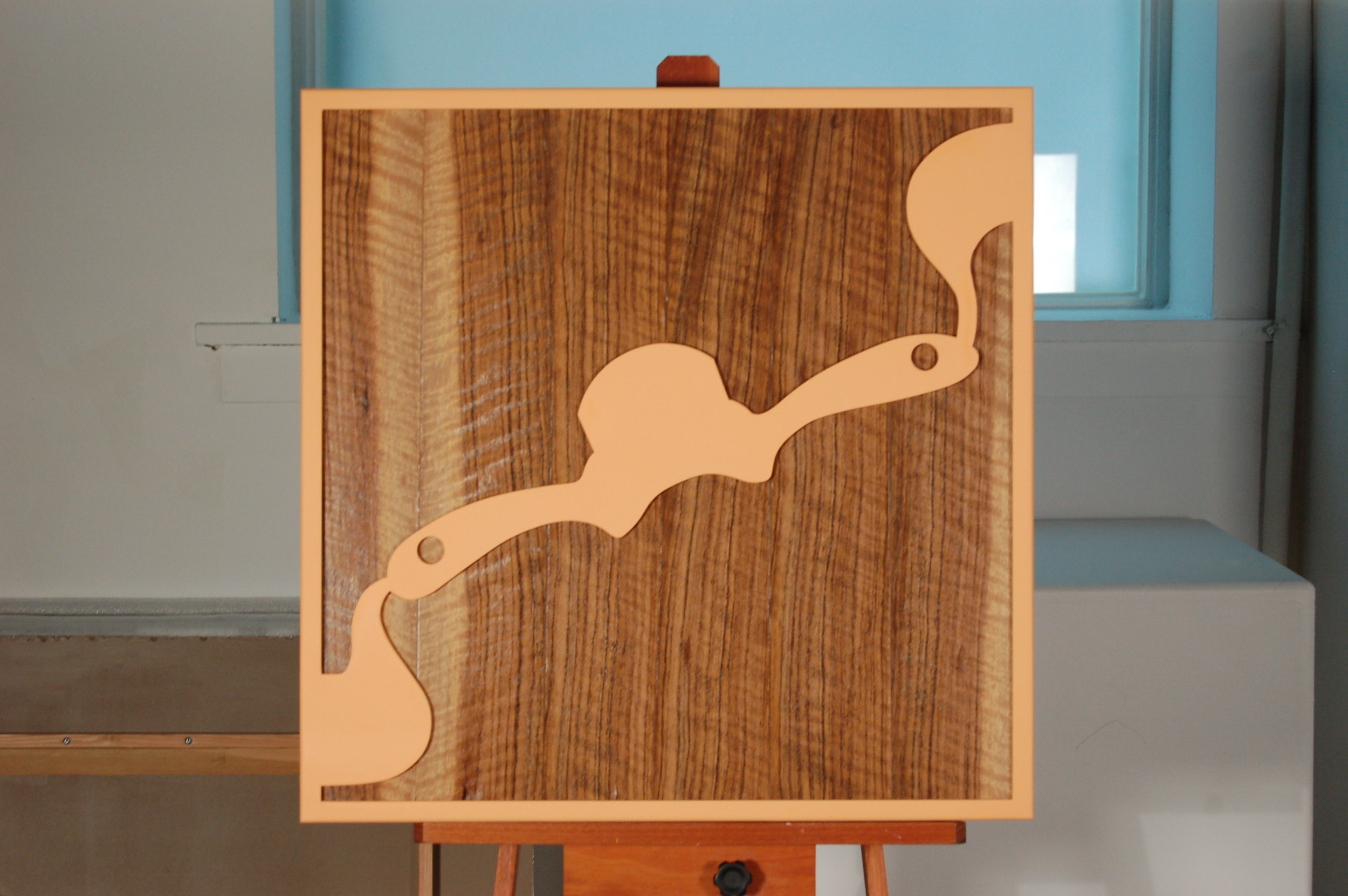 KH-009, The Spokeshave That Made the Frame, Figured Mozambique, wood panel, acrylic paint, 27x27, 2015.JPG