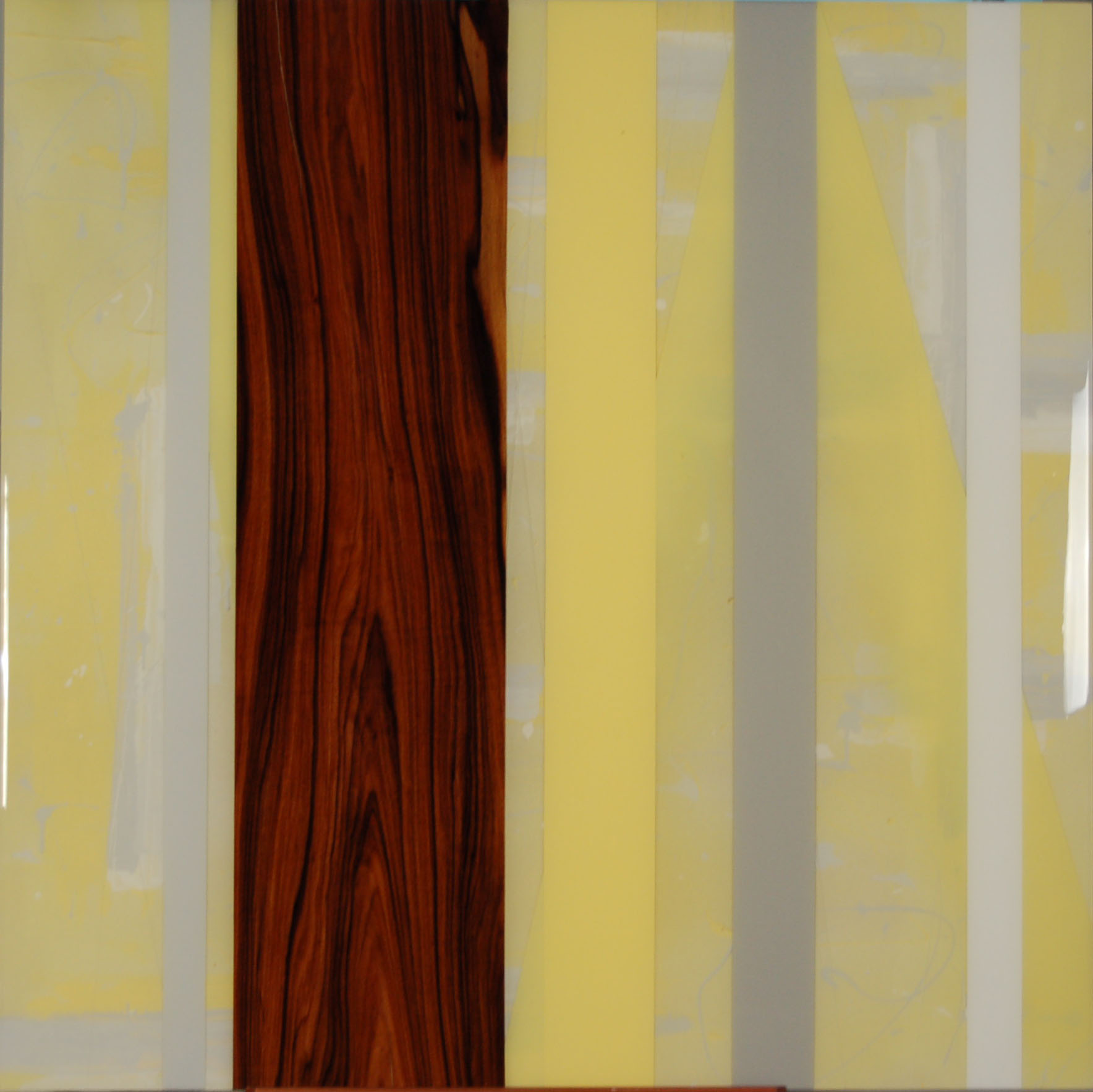 KH-017, Untitled (yellow), Acrylic Paint, Rosewood, Resin, 2015, 40%22 X 40%22  .jpg