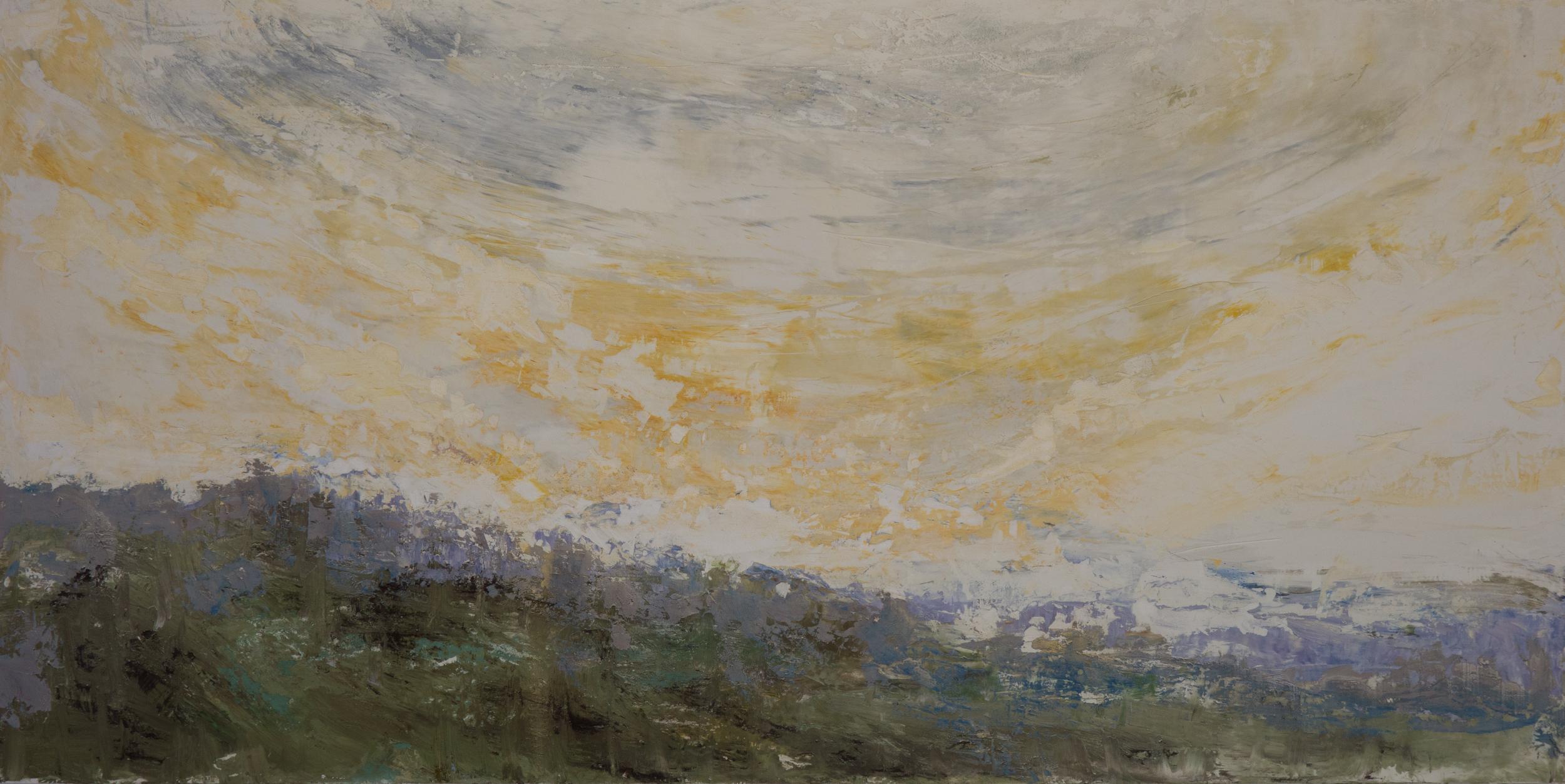 SV-045, Shelley Vanderbyl,Facing a Wider Dawn,2016,Fresco on Panel,48x96