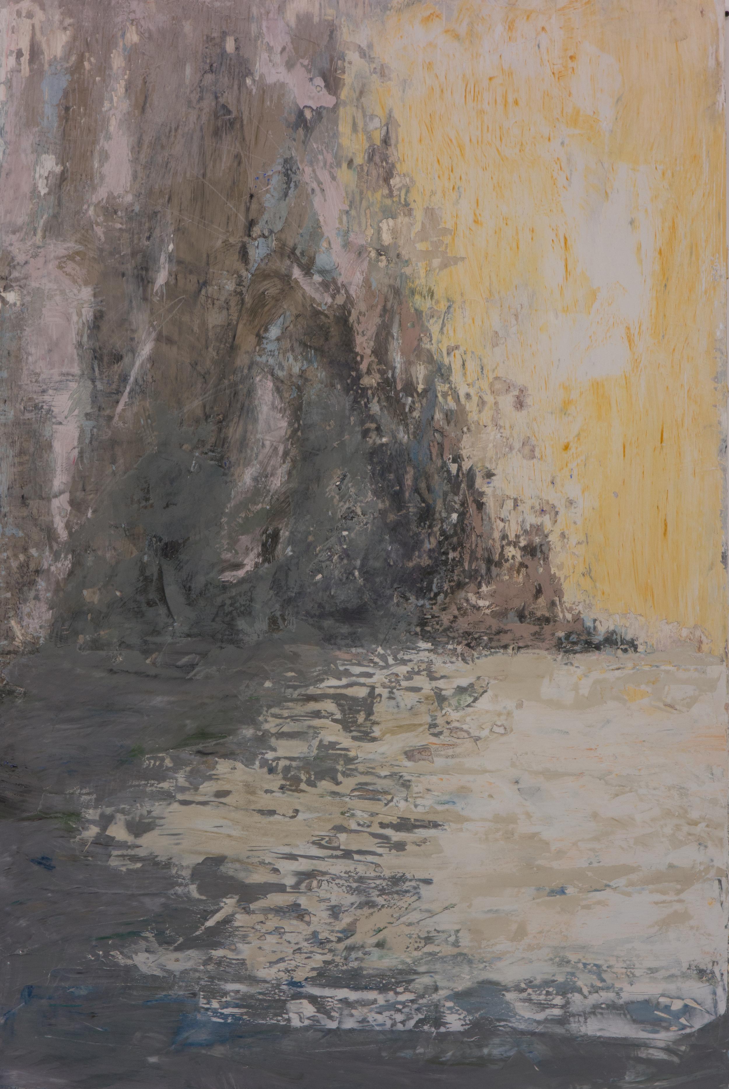 SV-050, Shelley Vanderbyl,Shoreline, 2016, Fresco on Panel, 40x60