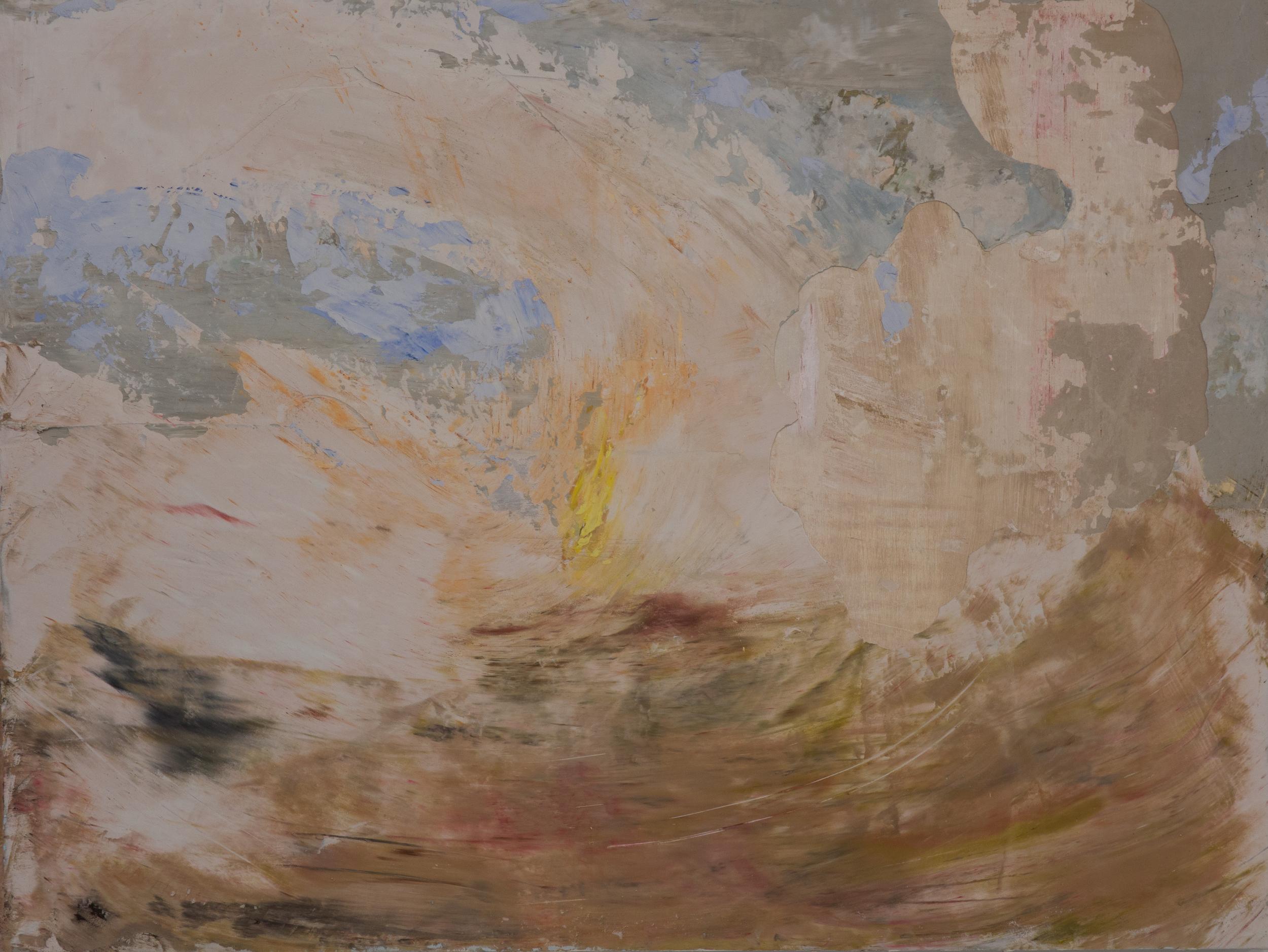 SV-051, Shelley Vanderbyl, Signal Fire (Day) , 2016, Fresco on Panel, 30x40