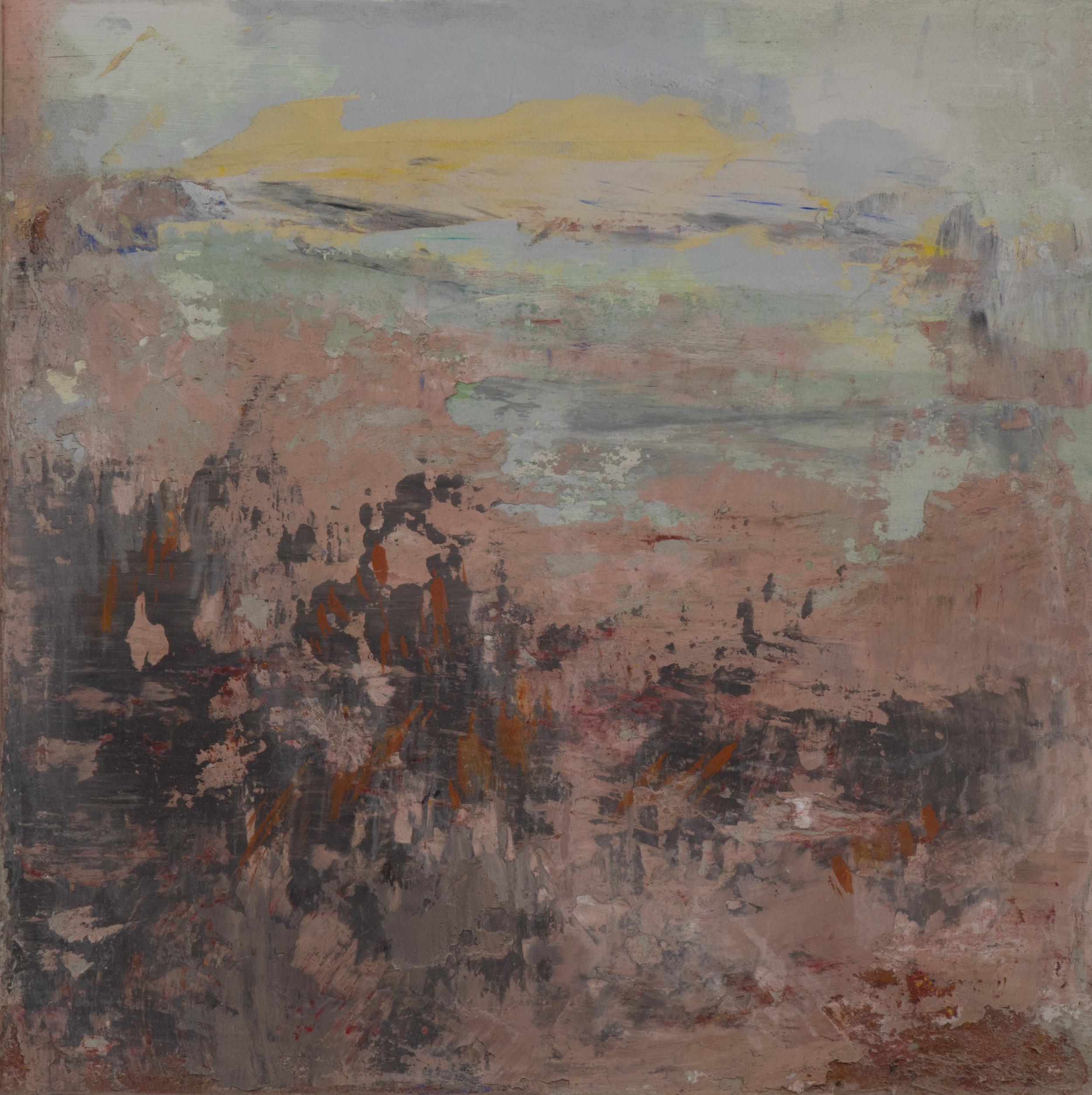 SV-062, Shelley Vanderbyl, Fireweed, 2016, Fresco on Panel, 16x16