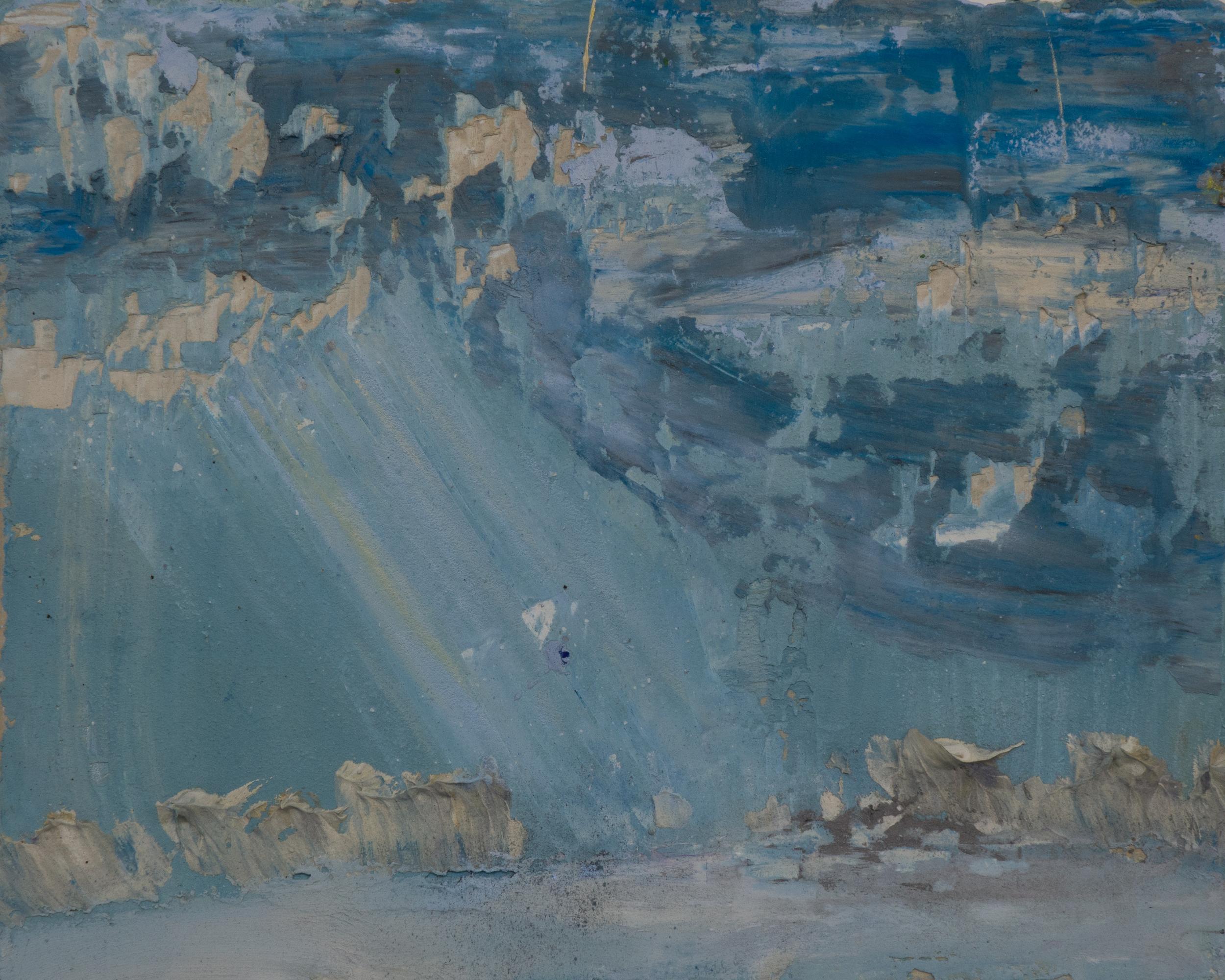 SV-064, Shelley Vanderbyl, Crepuscular Rays,2016,Fresco on Panel, 8x10