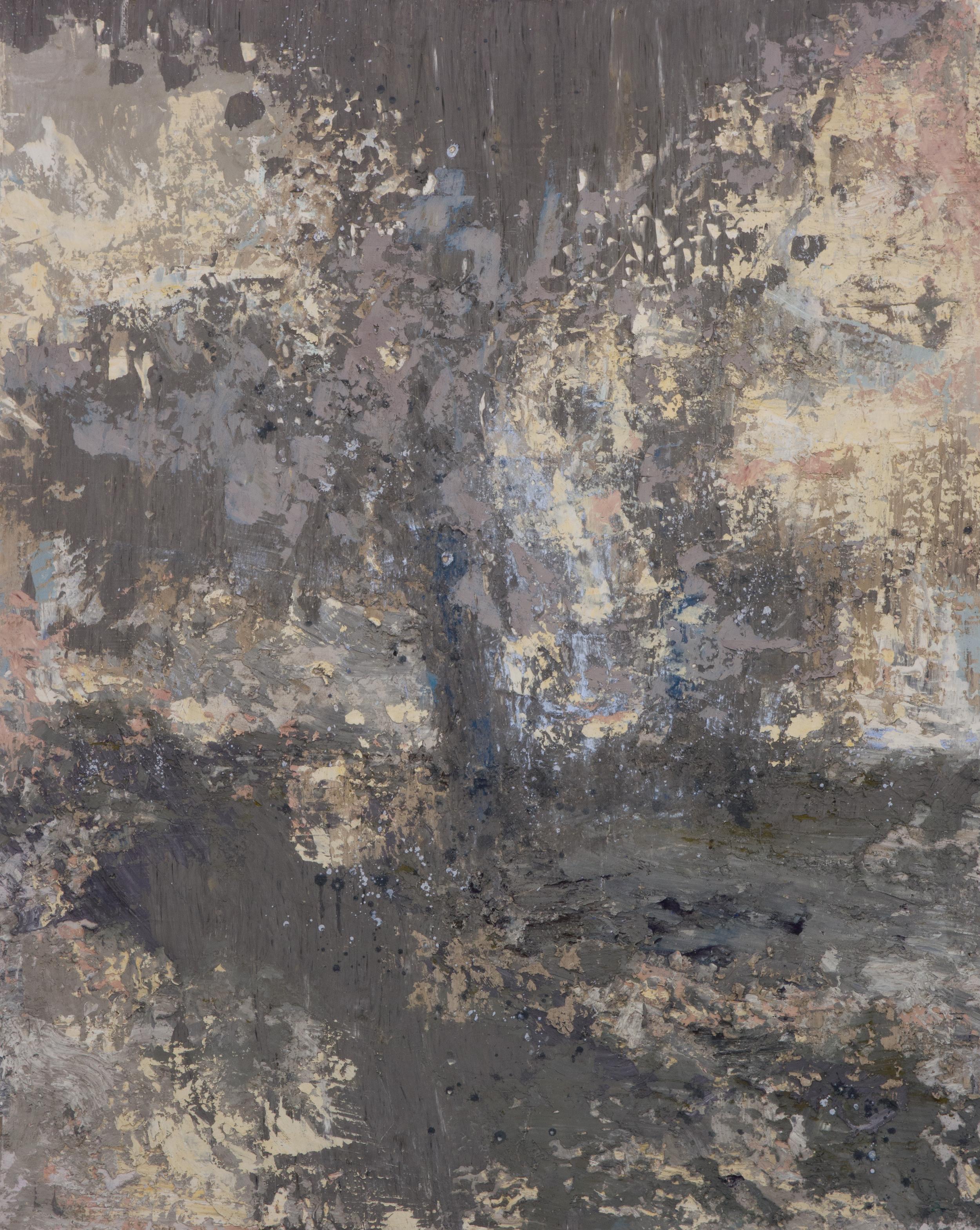 SV-065, Shelley Vanderbyl,Reclaimed Ash, 2016, Fresco on Panel,48x60
