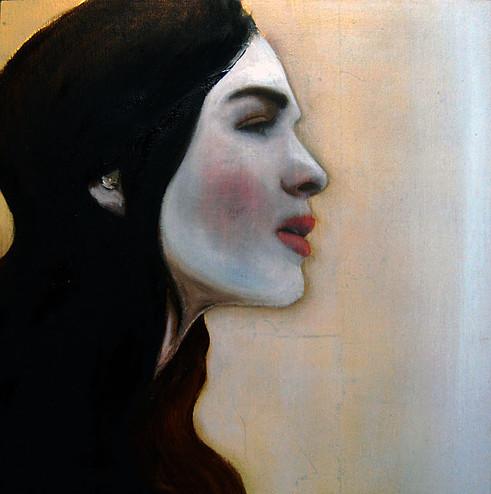 KS-024, Kae Sasaki, Untitled (Woman in Profile), 2013, Oil on Gold Leaf on Wood Panel, 16 x 16