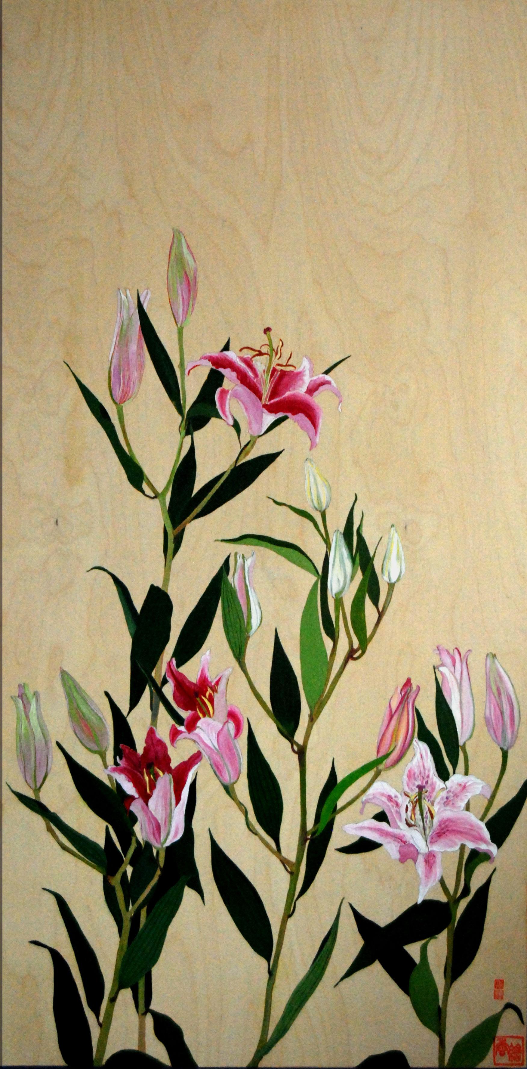 KS-022, Kae Sasaki, Untitled (Oriental Lilies), Oil on Wood Panel, 24 x 48, 2013