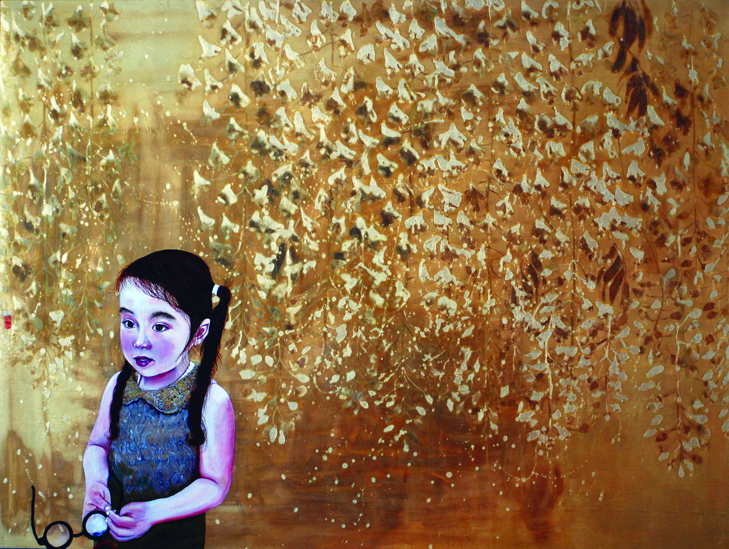 KS-046, Kae Sasaki, Elegant Hostility, 2015, Oil and Patina on Goldleafed Panel, 36X48