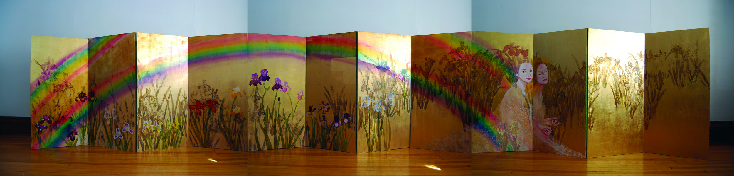 KS-054, KaeSasak, Iris Screens, 2015, Oil and Patina on Goldleafed Panels, 48X288