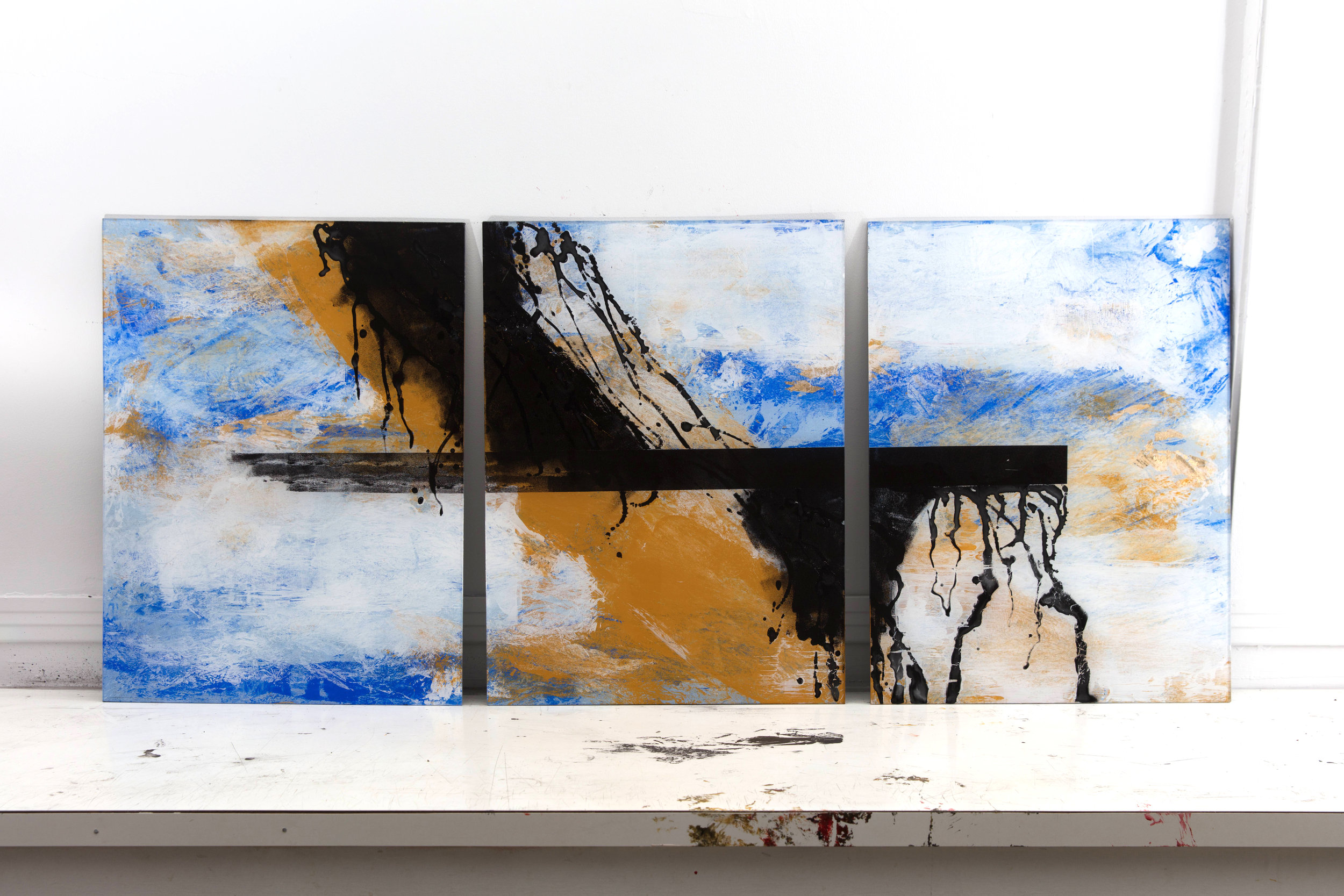 ED-062, Falling (Triptych), Mixed Media on Panel, 2016,	 24	x18 each.jpg