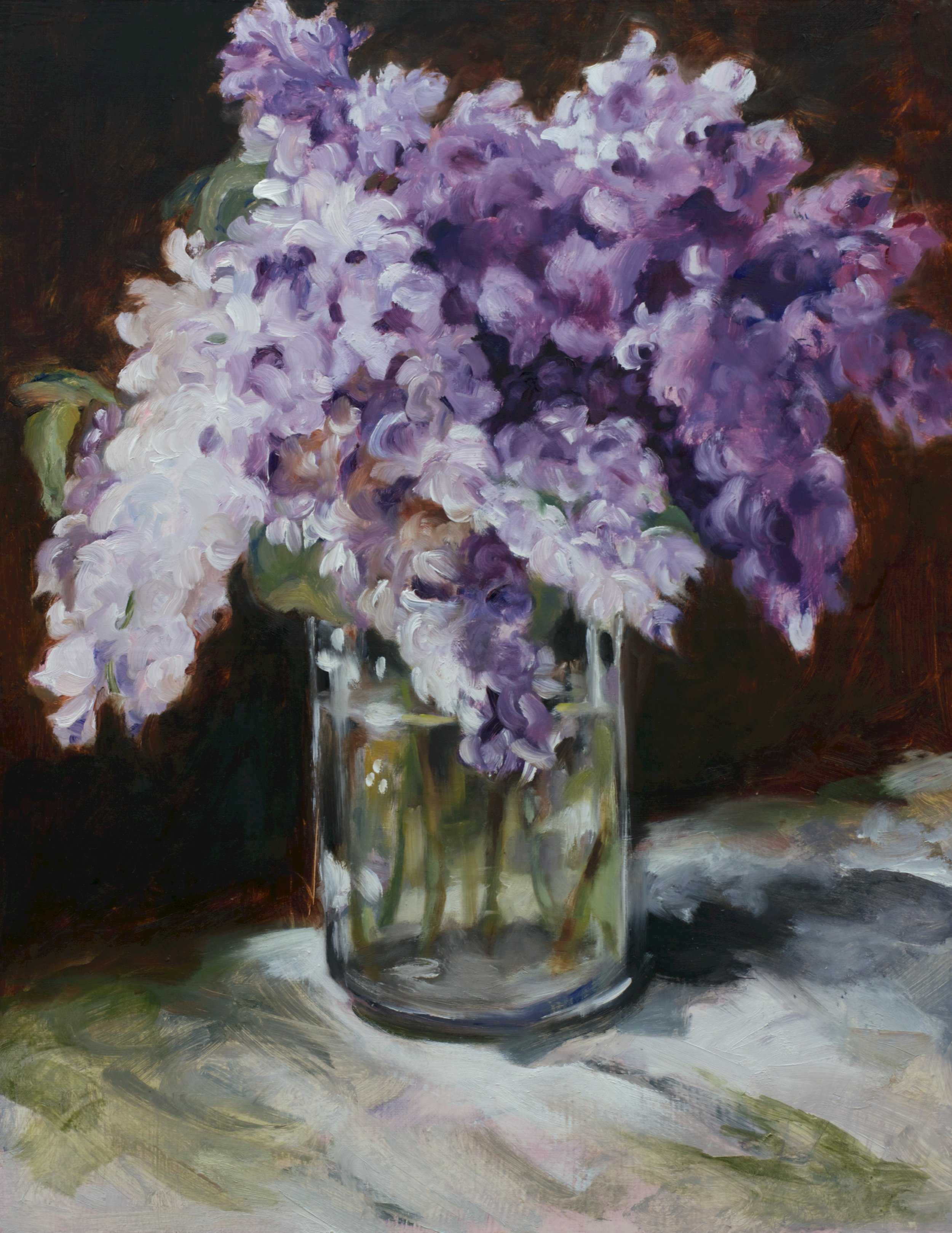"Are. Casey's Lilacs, Oil on Canvas, 2016, 18"" x 14""."