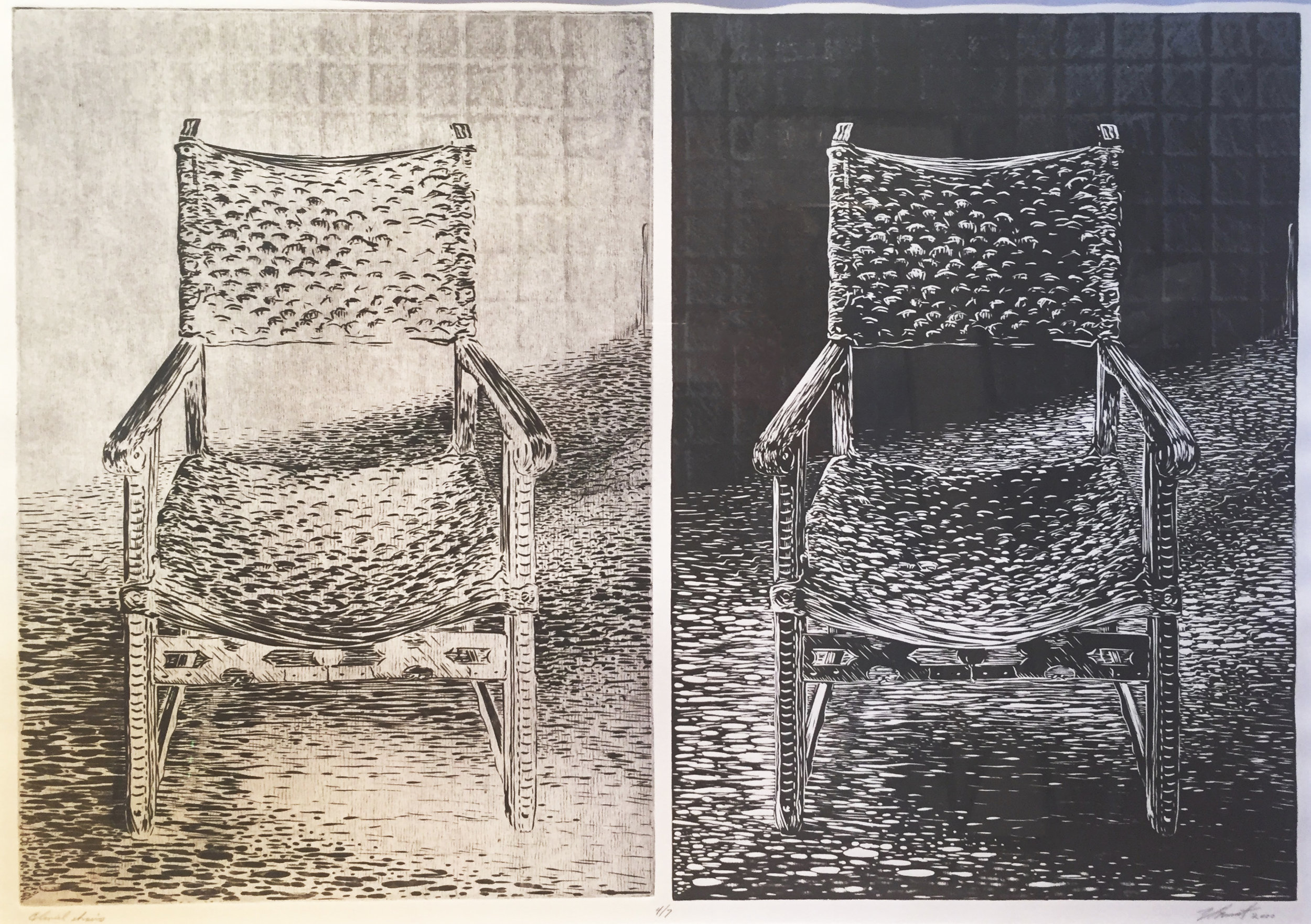 "Colonial Chairs, Edition 4/7, Relief/Intaglio/Screen, 2000, 30.5"" x 38"""