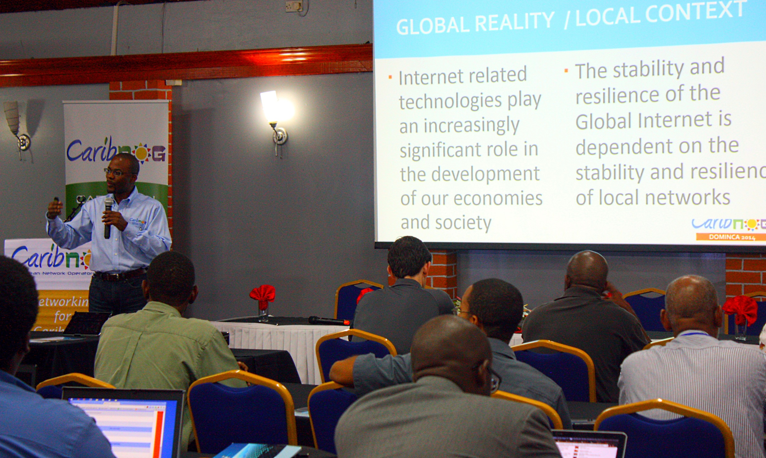 Bevil Wooding of PCH, addressing the participants of the seventh regional CaribNOG meeting.