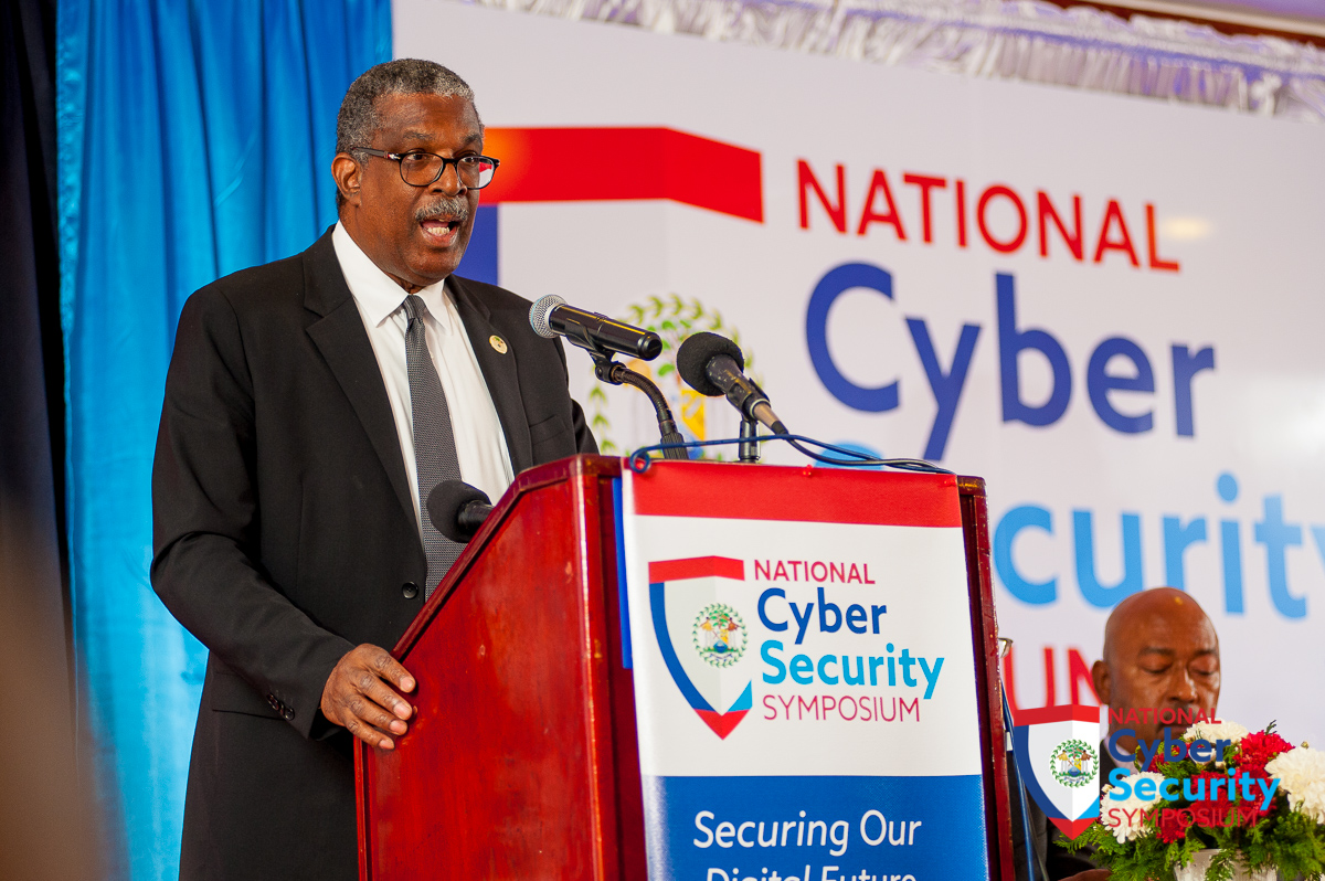 CAPTION: Chief Justice of Belize, Kenneth Benjamin, speaks on the opening day of the country's first-ever national symposium on cyber security, held at Best Western, Biltmore Plaza, Belize City from April 24 to 28, 2017. Photo courtesy Caribbean Network Operators Group.