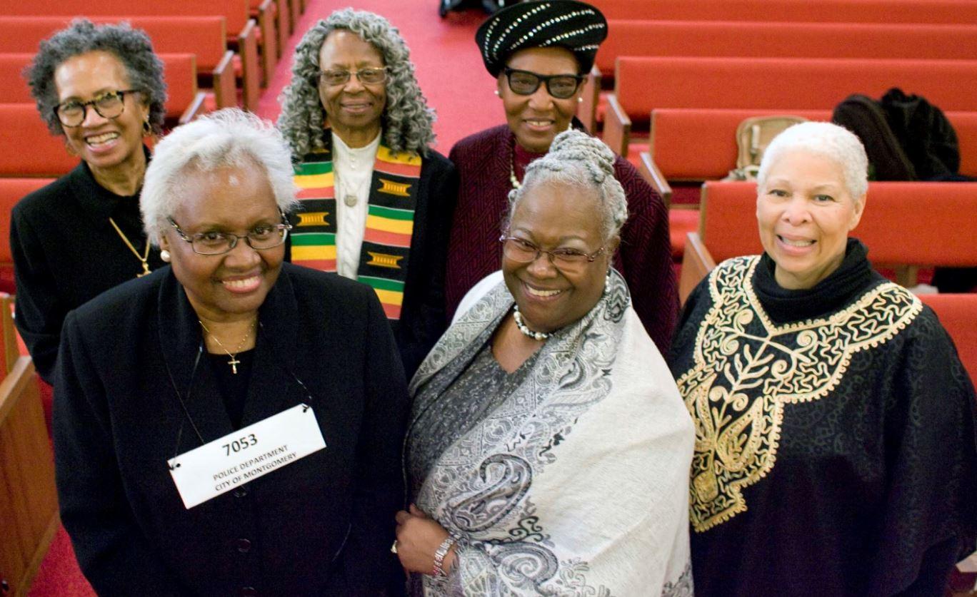Front Row from Left to Right: Rev. Suzette Haynes, Rev. Dr. Ramonia Lee, Kehembe Eichelberger.                      Back Row from left to right: rev. Barbara Steinbergen McKenzie, Sister Barbara Spears, Rev. Diane Hugger