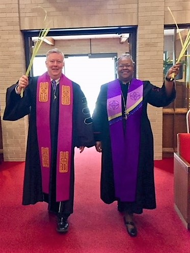 Rev. Dr. Woodie Rea and Rev. Dr. Ramonia Lee on Palm Sunday