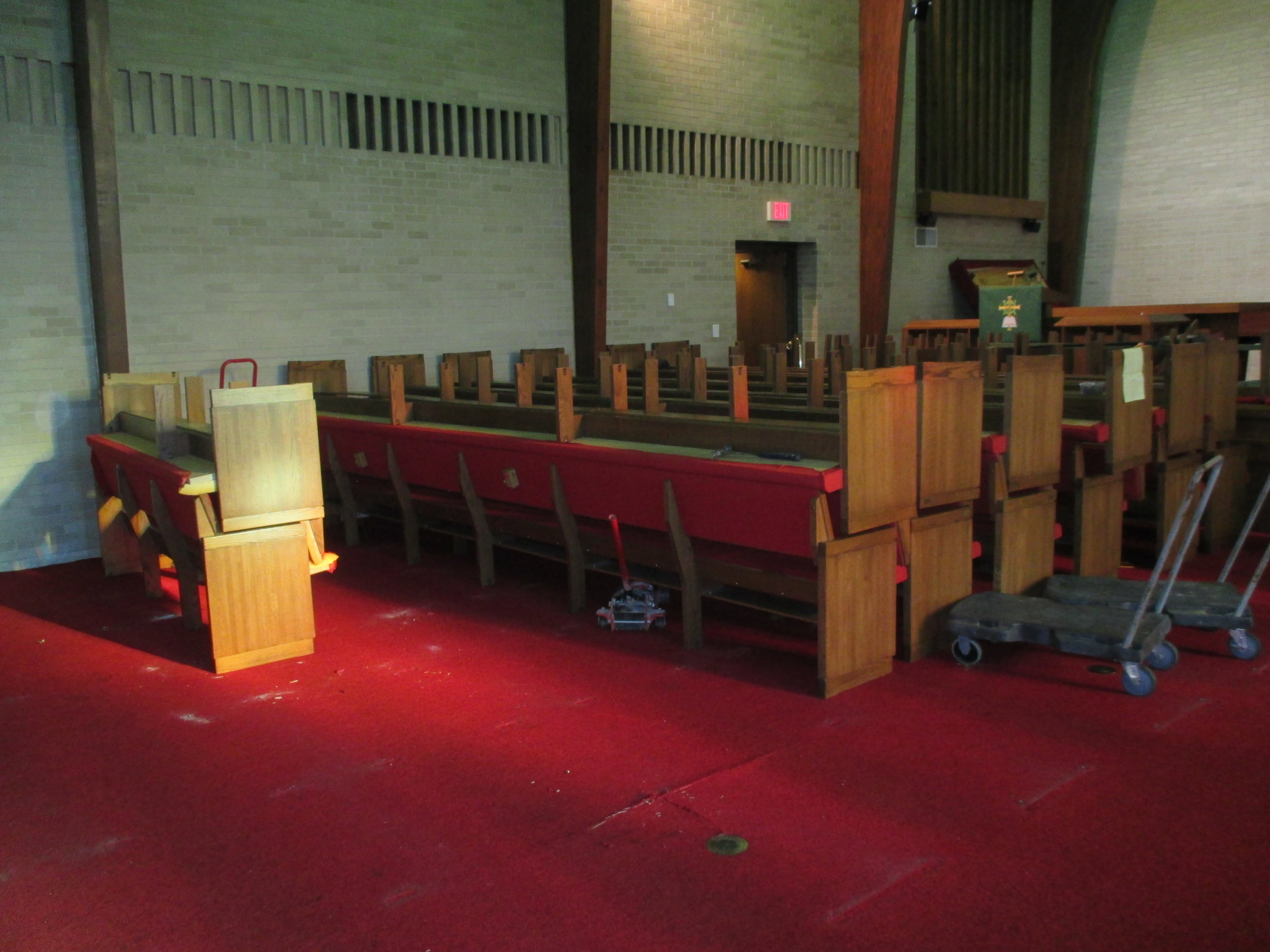 shortened pews for wheelchair seating
