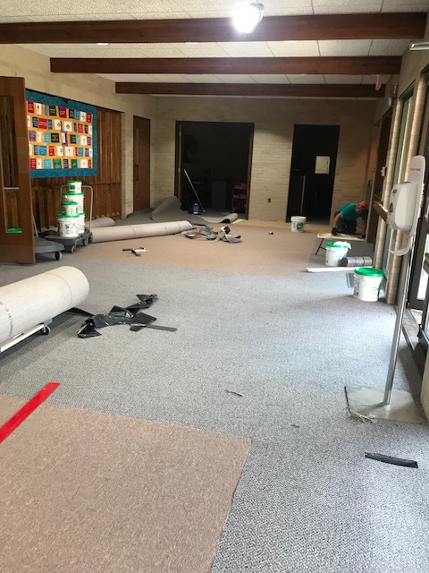 On thursday, August 16,, the narthex carpet is almost done.