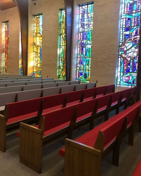 On FRiday, August 24, the front of the sanctuary has beige pews and the back is still red!  All the pews will be done in a few weeks.