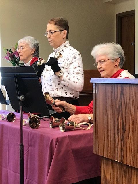 handbells at inter-faith women's Sights and sounds of Christmas