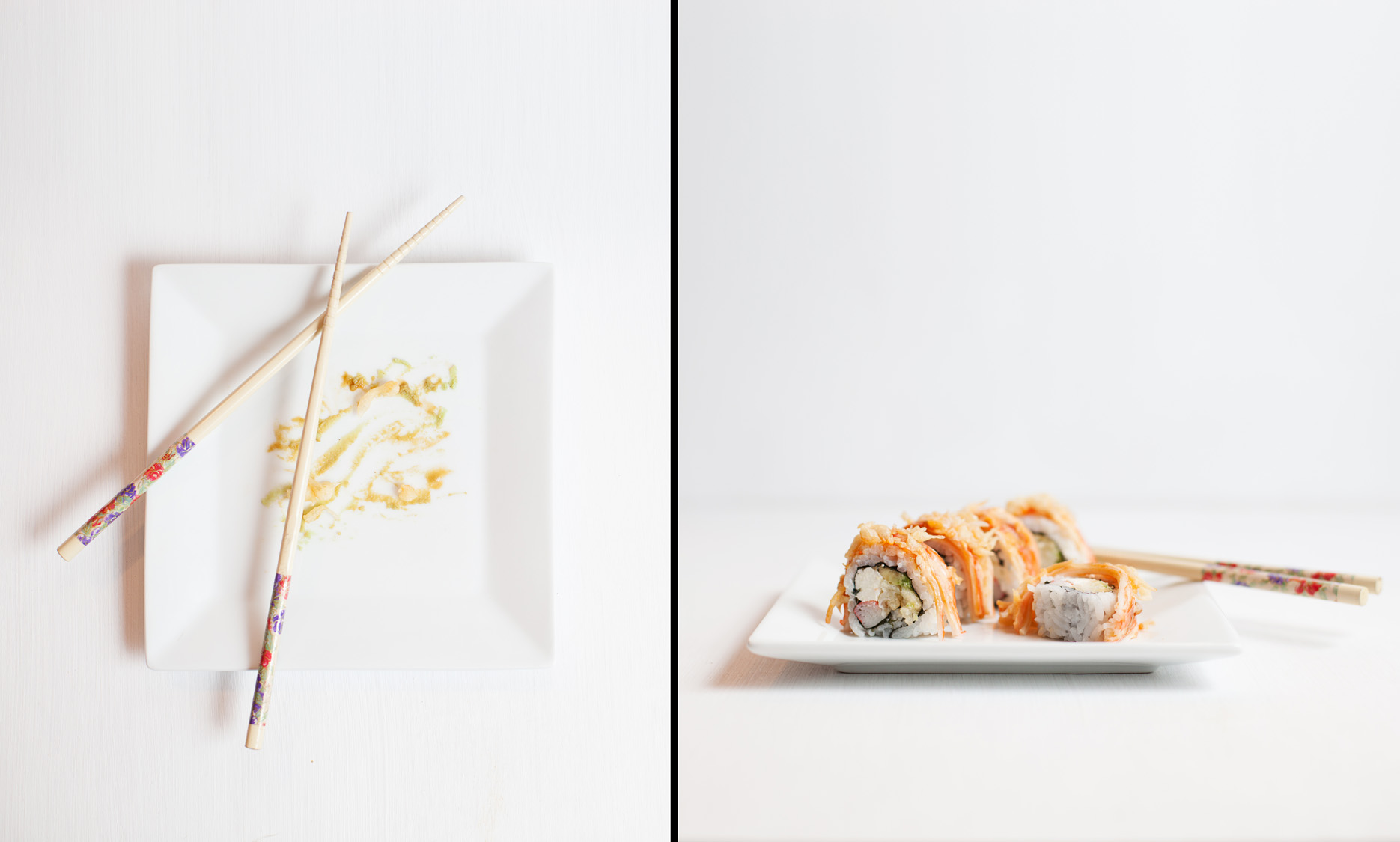 Winn Dixie Sushi Buddy Roll with chopsticks on white background next to finished plate.