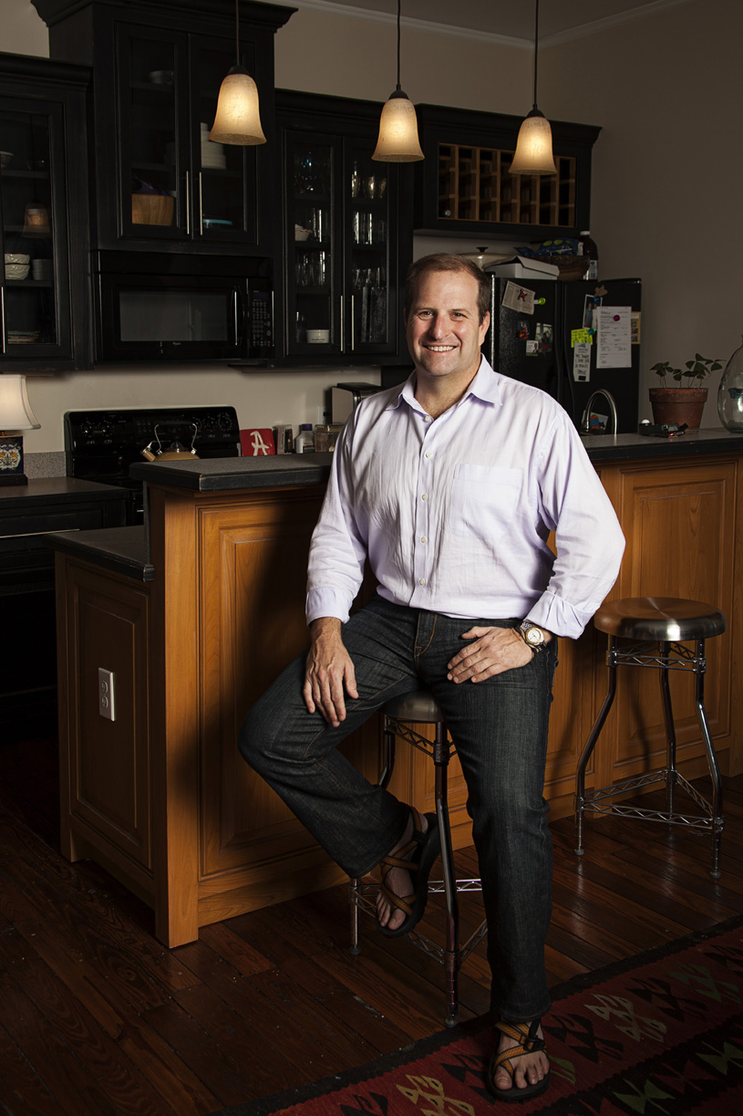 Kinnon at his kitchen in his renovated Midtown Mobile, AL home | Todd Douglas Photography